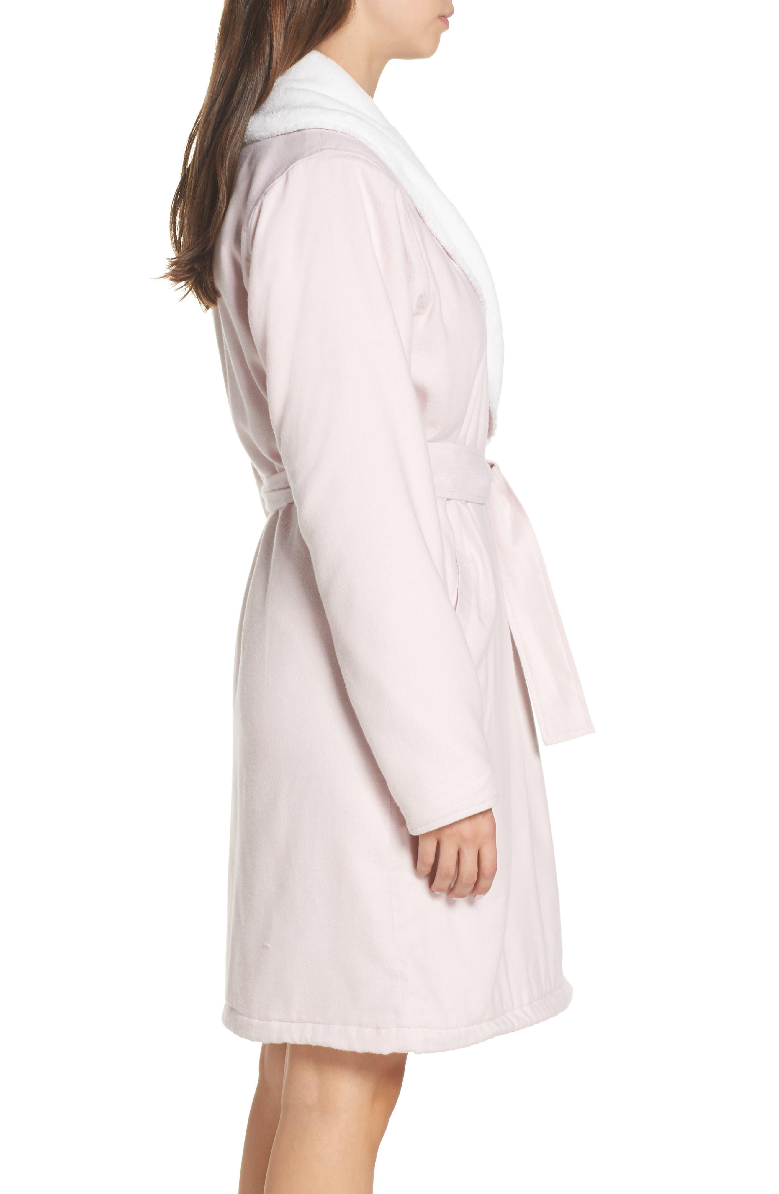 Anika Herringbone Fleece Robe,                             Alternate thumbnail 3, color,                             STARLIGHT
