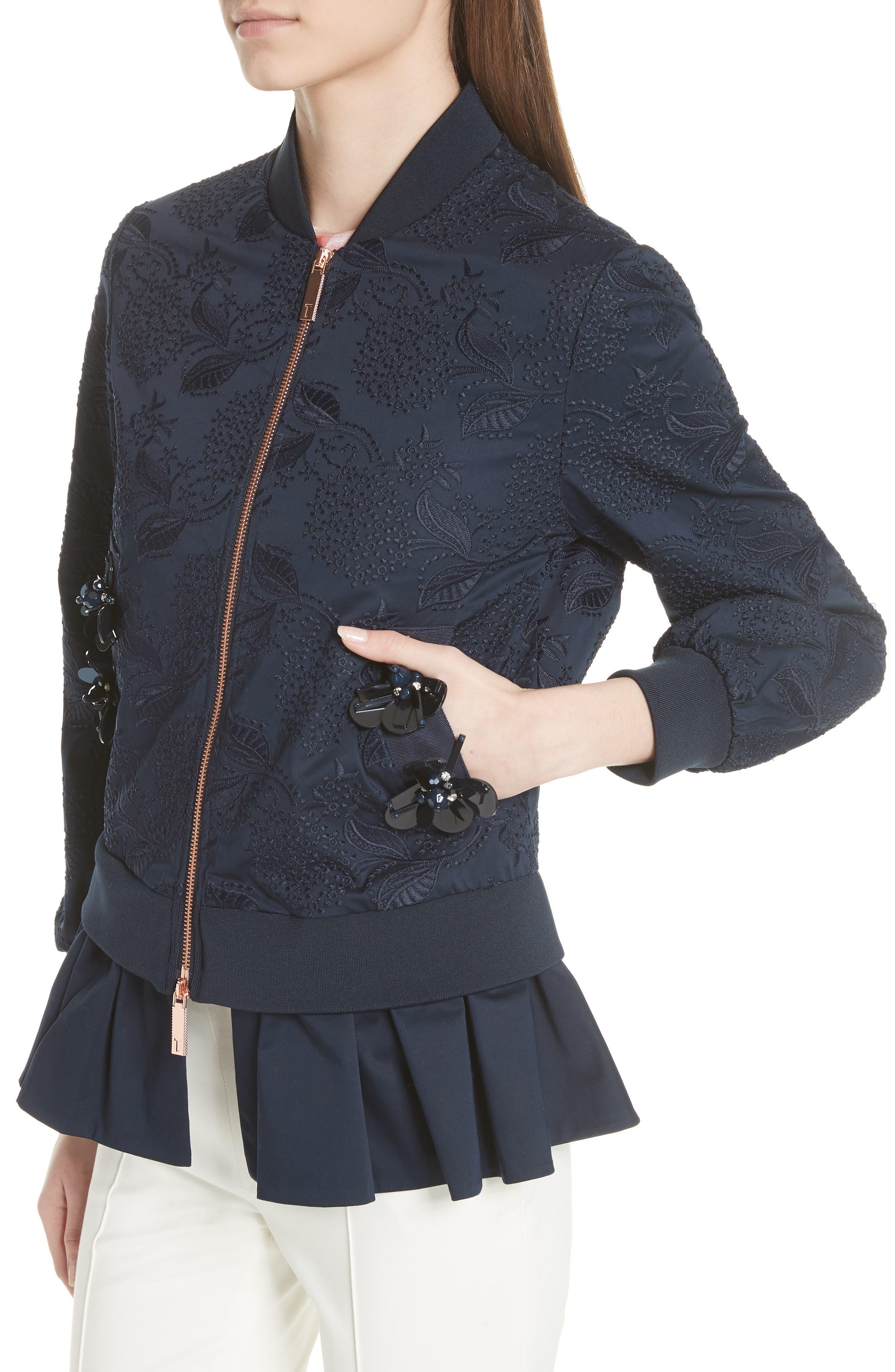 Embellished Frill Trim Bomber Jacket,                             Alternate thumbnail 4, color,