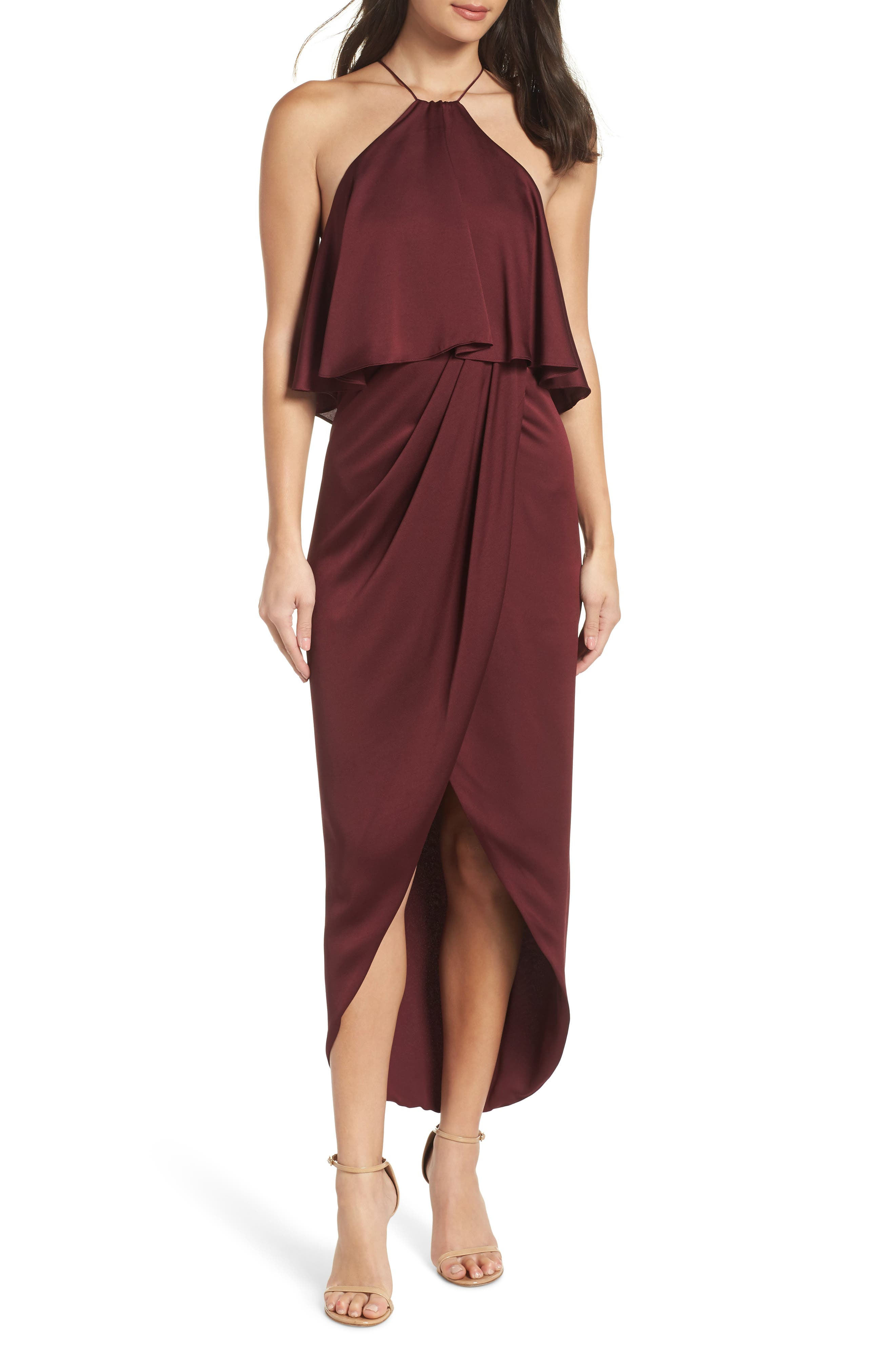 SHONA JOY Ruffle Halter Tulip Gown in Garnet
