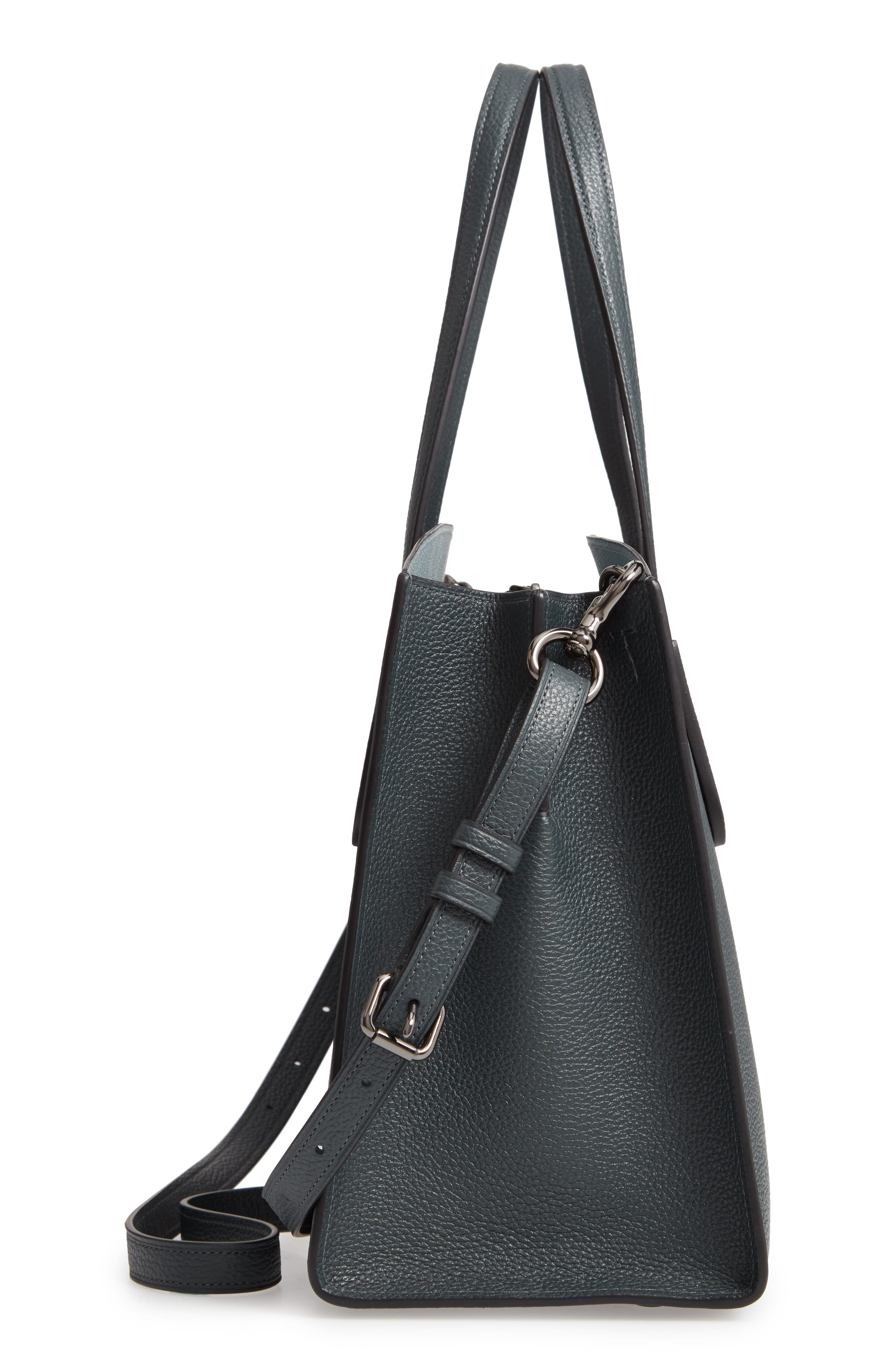 Charlie Leather Tote,                             Alternate thumbnail 5, color,                             CYPRESS