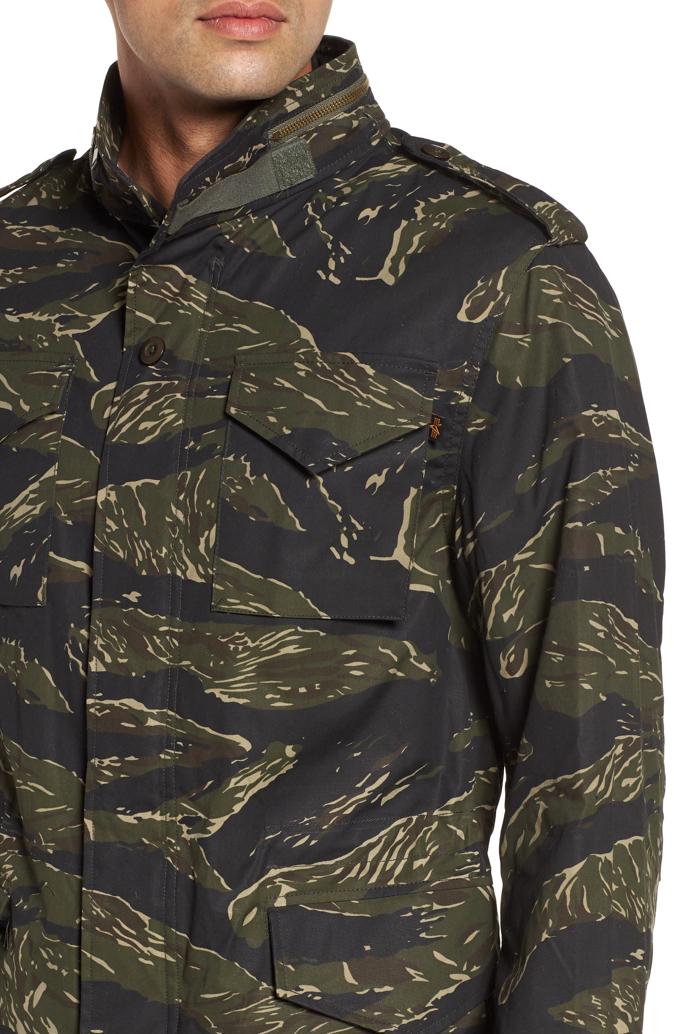 M-65 Defender Waxed Camo Field Jacket,                             Alternate thumbnail 4, color,                             TIGER CAMO