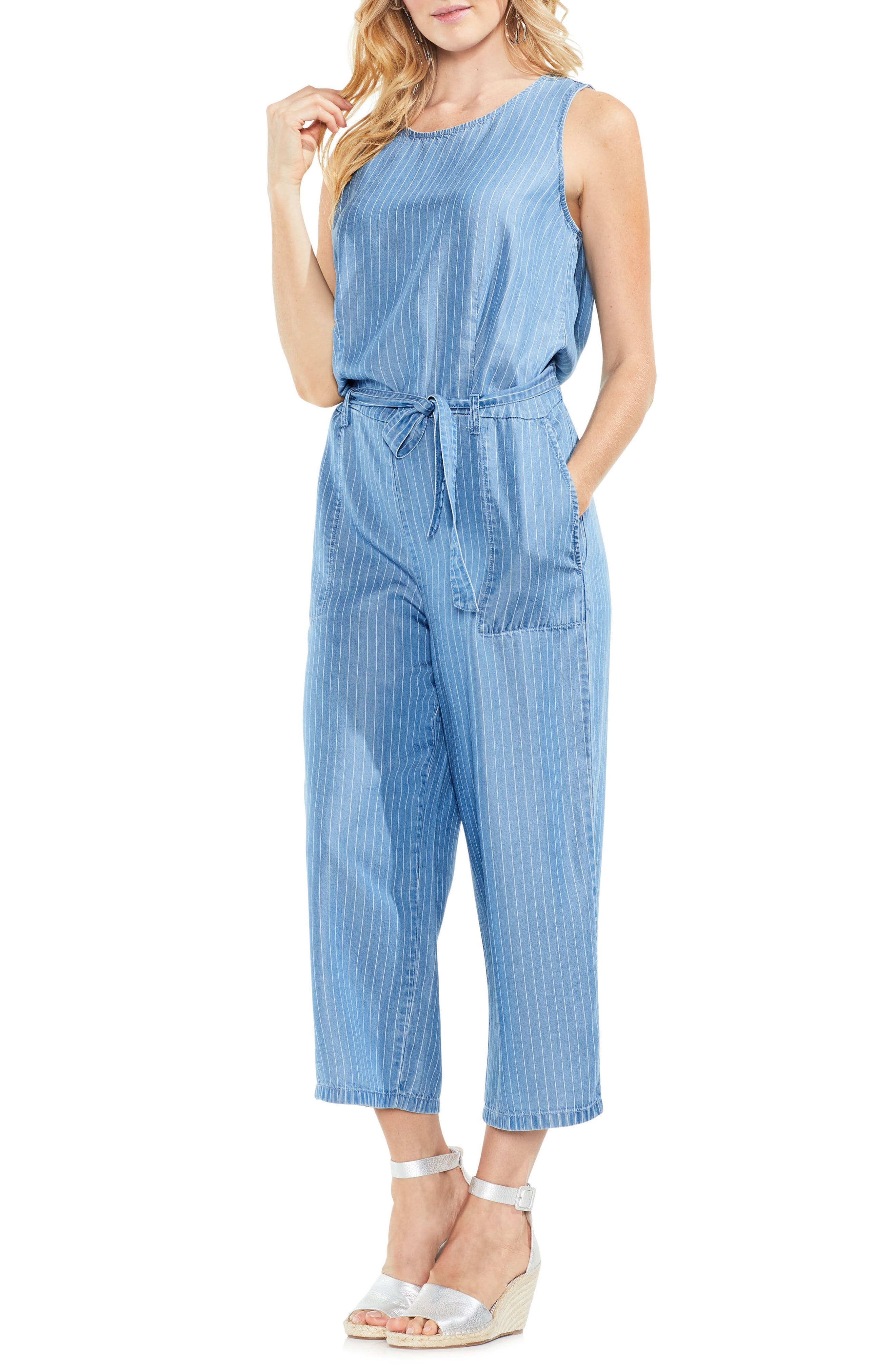 Sleeveless Stripe Belted Jumpsuit,                             Main thumbnail 1, color,                             488