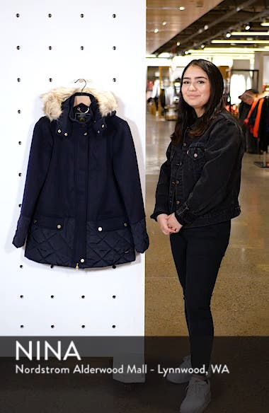 Mixed Texture Hooded Coat with Faux Fur Trim, sales video thumbnail