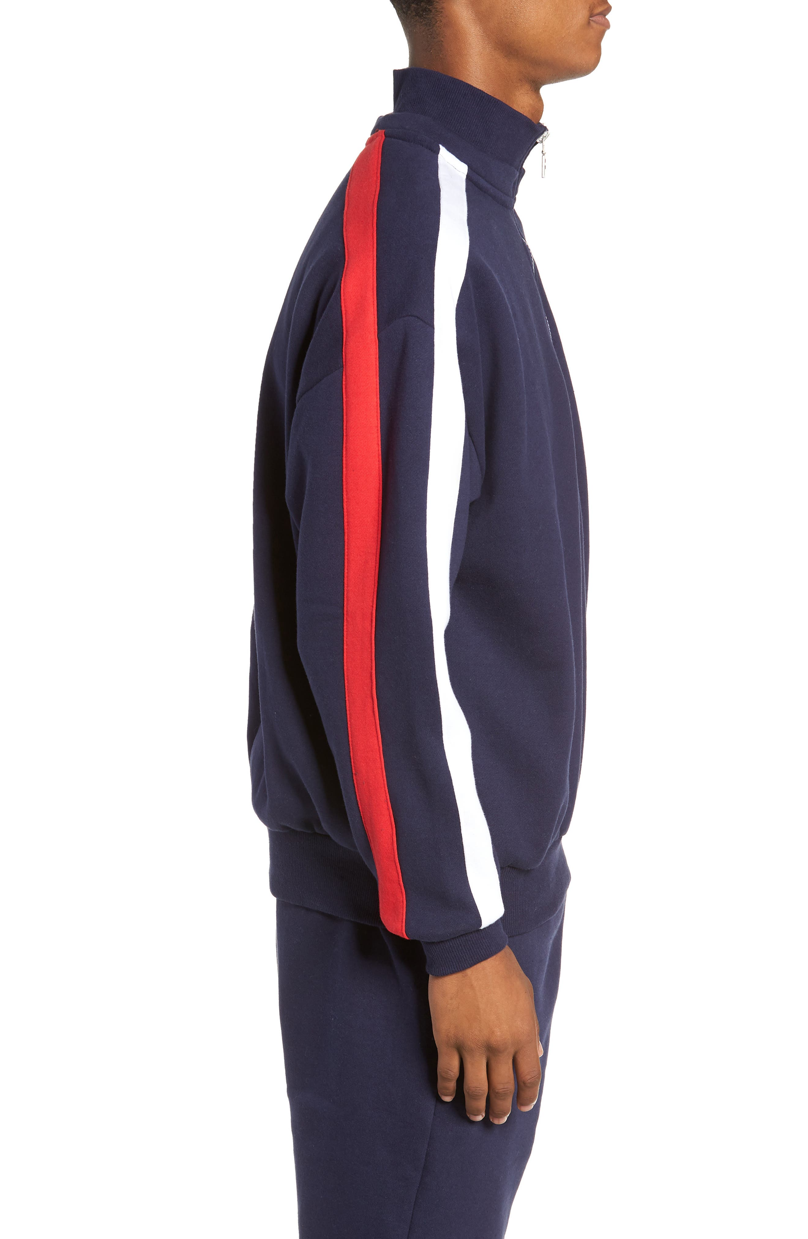Quarter Zip Sweatshirt,                             Alternate thumbnail 3, color,                             PEACOAT/ WHITE/ CHINESE RED
