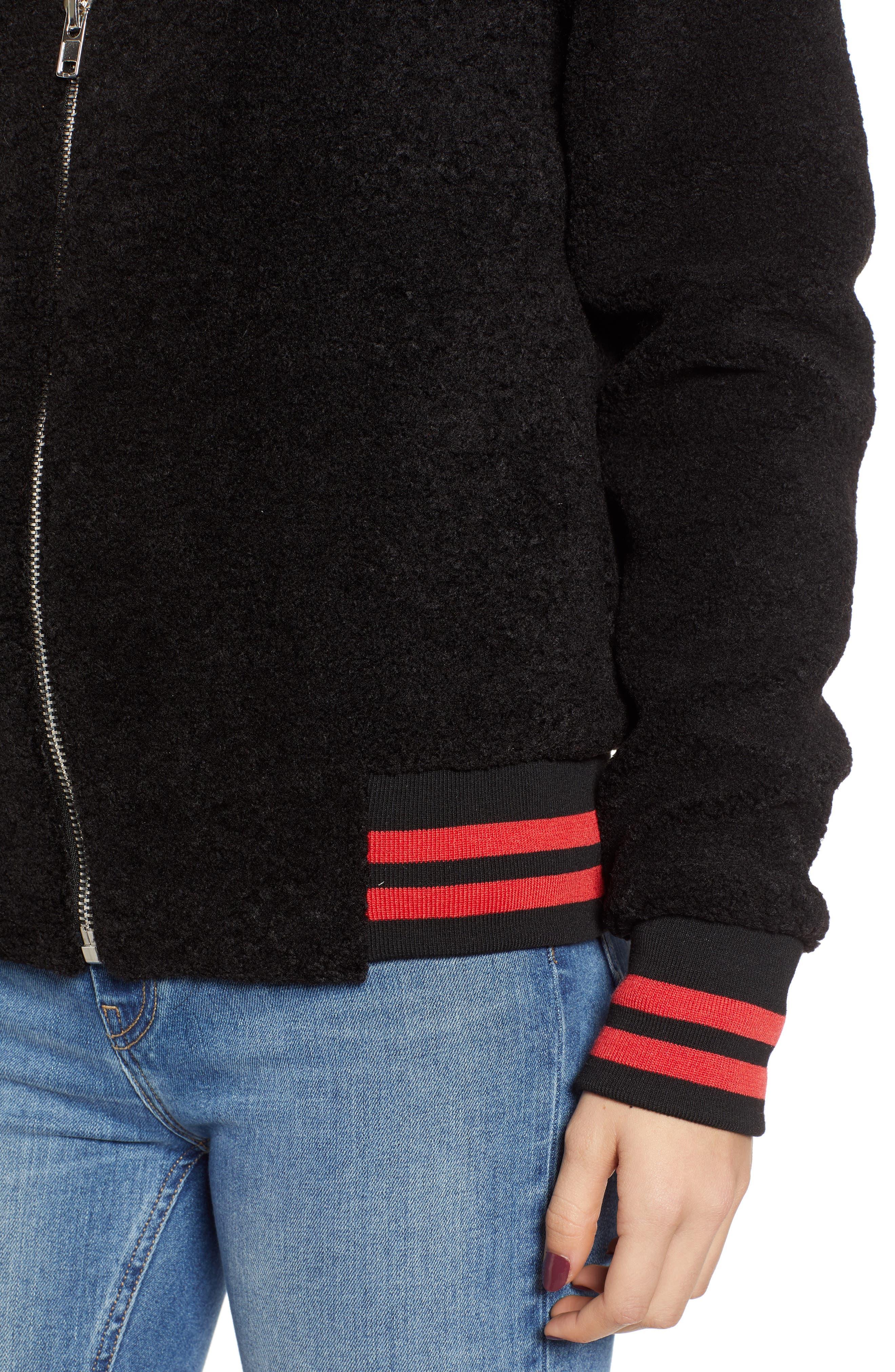 Gray Faux Fur Track Jacket,                             Alternate thumbnail 4, color,                             BLACK CAT