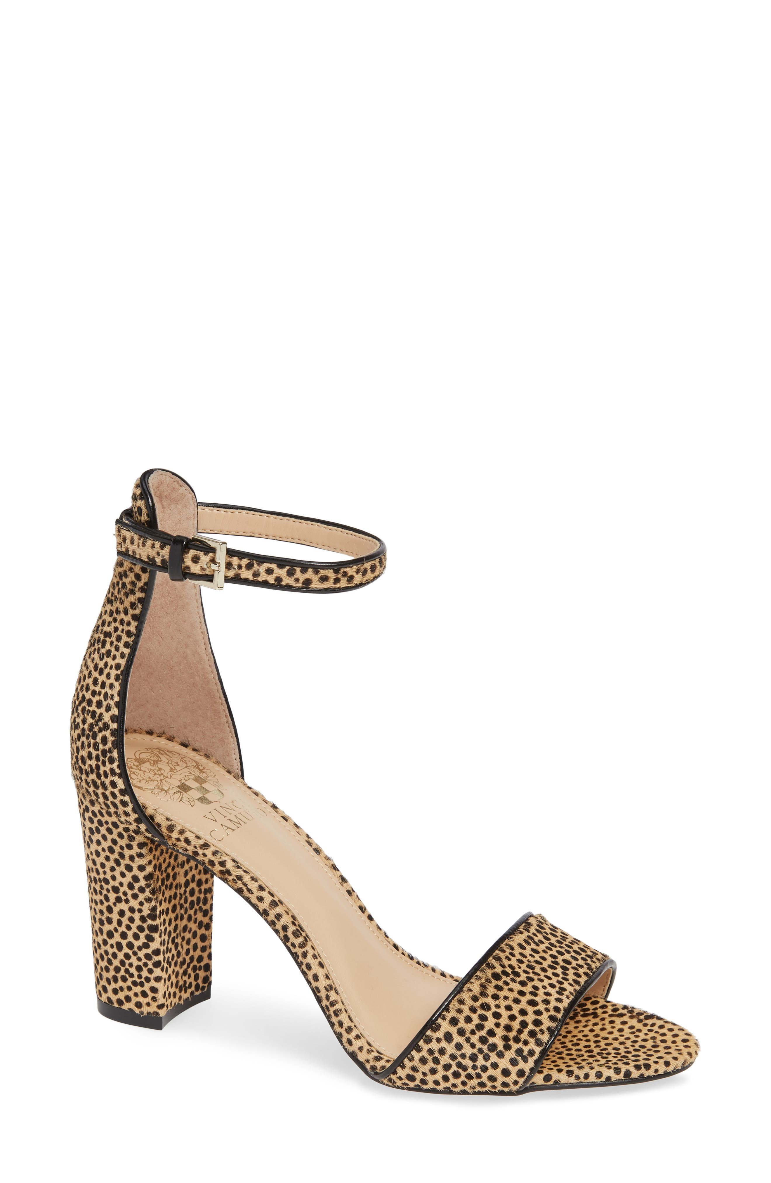 Corlina Genuine Calf Hair Ankle Strap Sandal,                         Main,                         color, NATURAL SPOTTED CALF HAIR