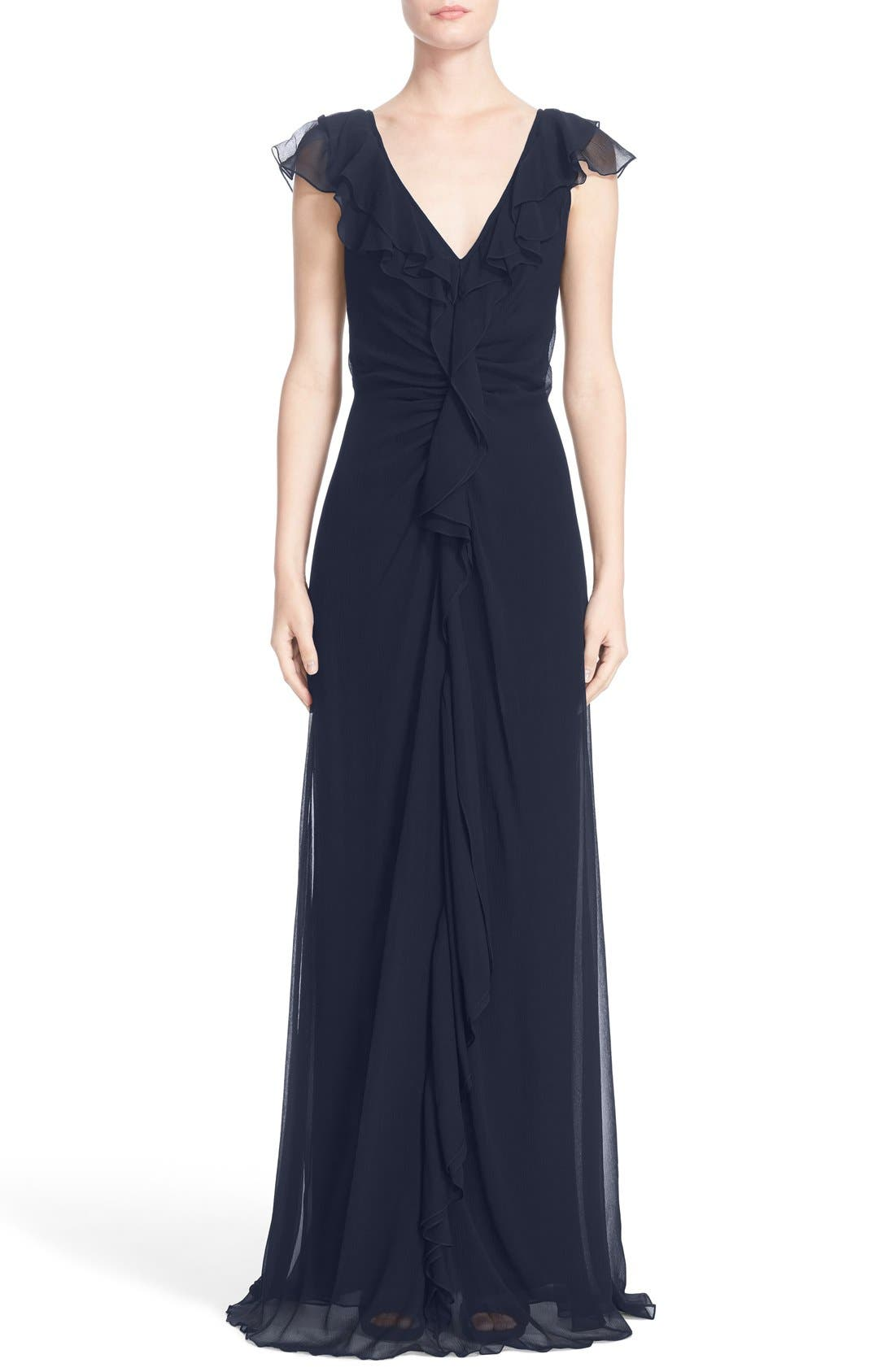 Ruffle Detail Silk Chiffon V-Neck Gown,                             Main thumbnail 1, color,                             400