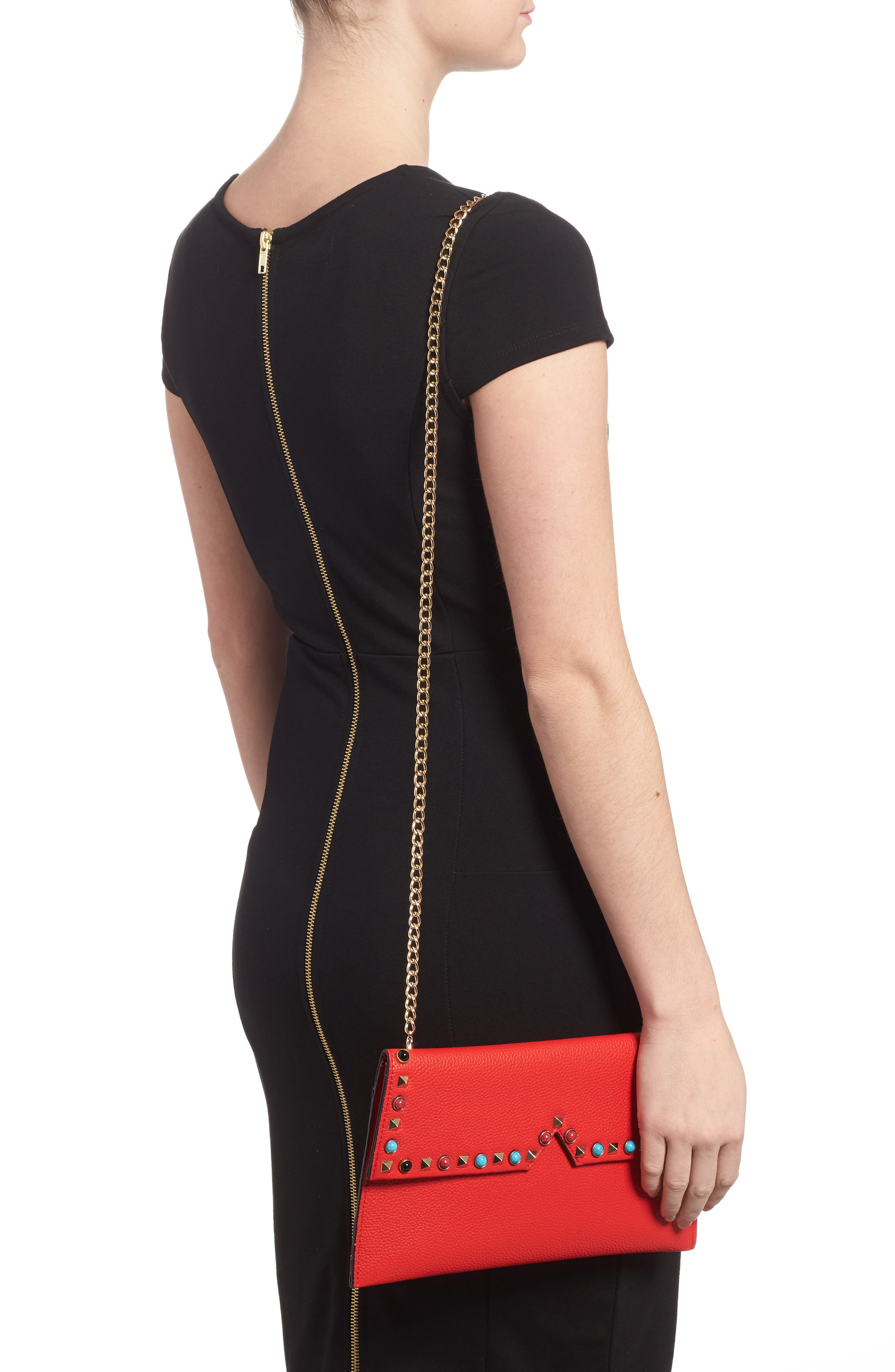 SR Squared by Sondra Roberts Studded Faux Leather Clutch,                             Alternate thumbnail 2, color,                             600