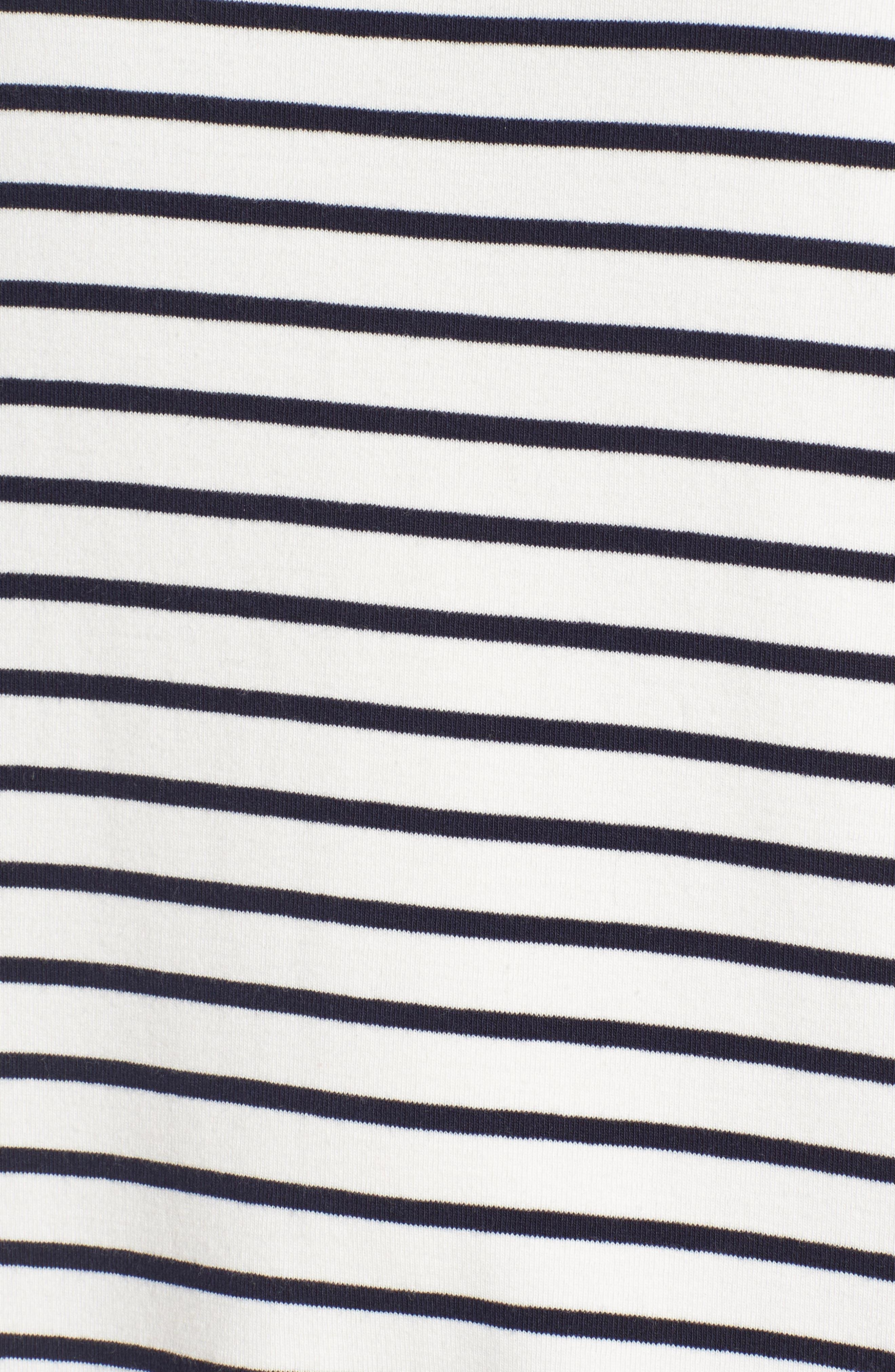 Twill Tape Trim Knit Dress,                             Alternate thumbnail 5, color,                             001