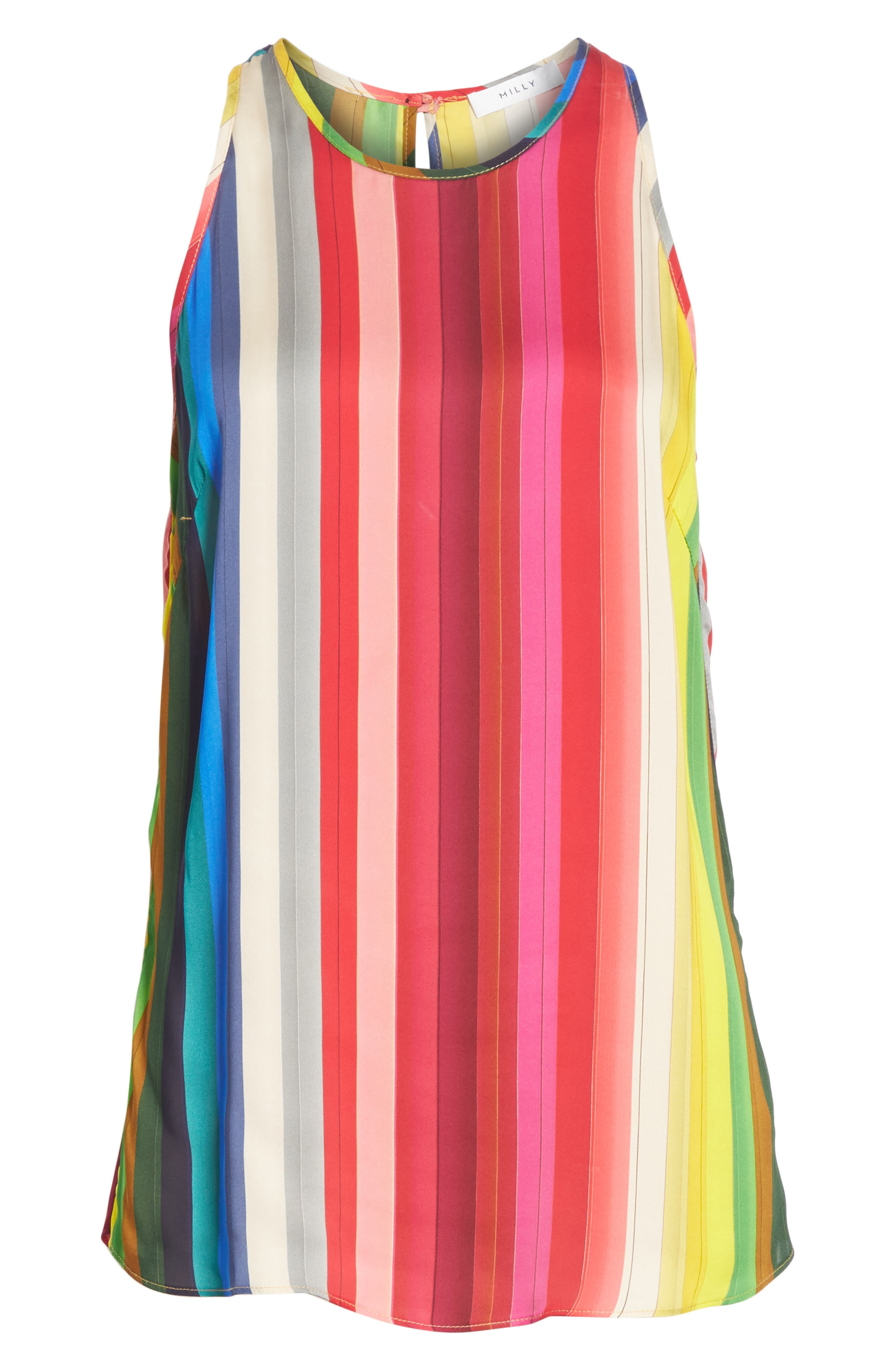 Marie Rainbow Stripe Swing Tank,                             Alternate thumbnail 6, color,                             600