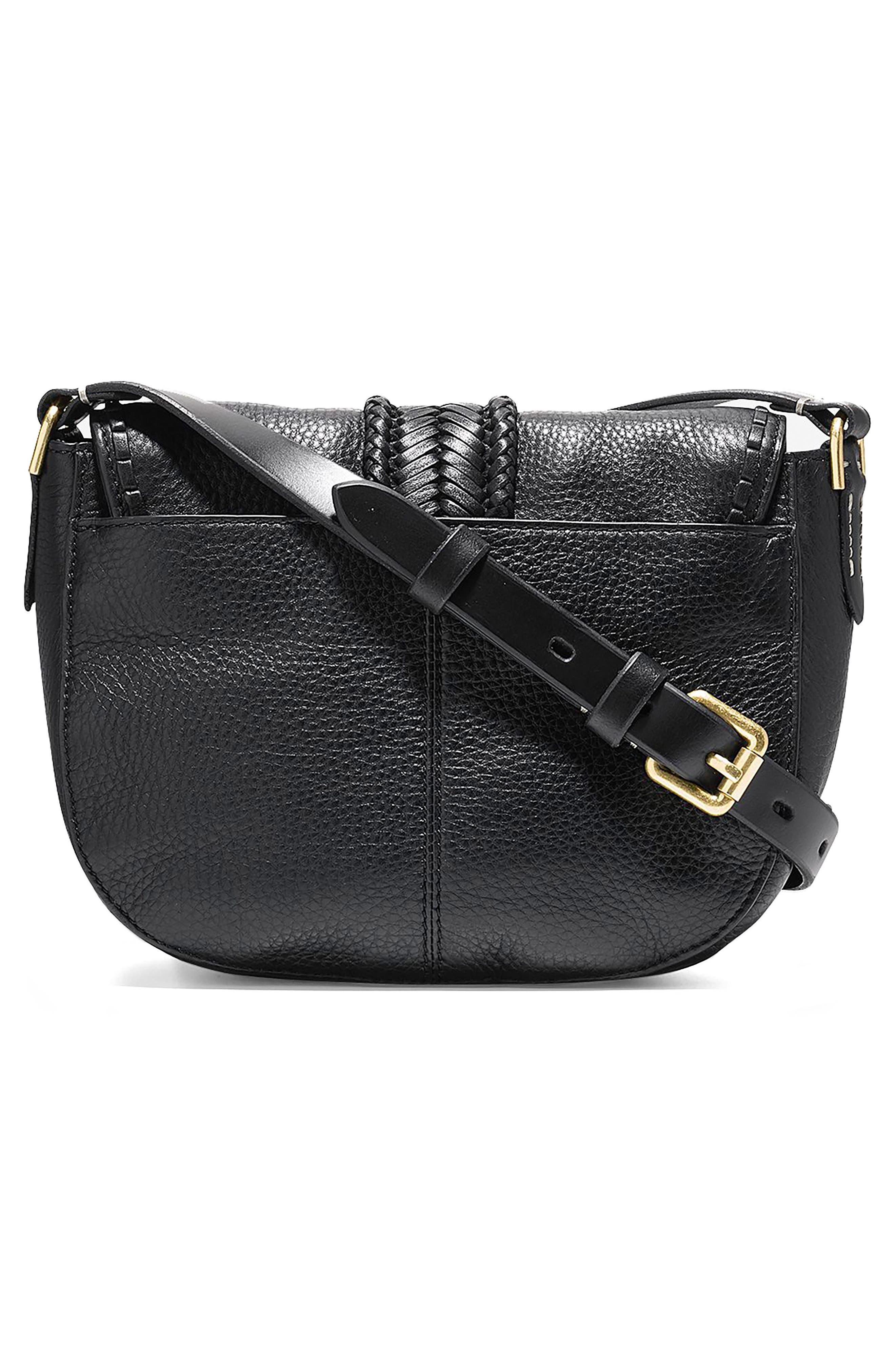 Mini Loralie Whipstitch Leather Saddle Bag,                             Alternate thumbnail 2, color,                             001