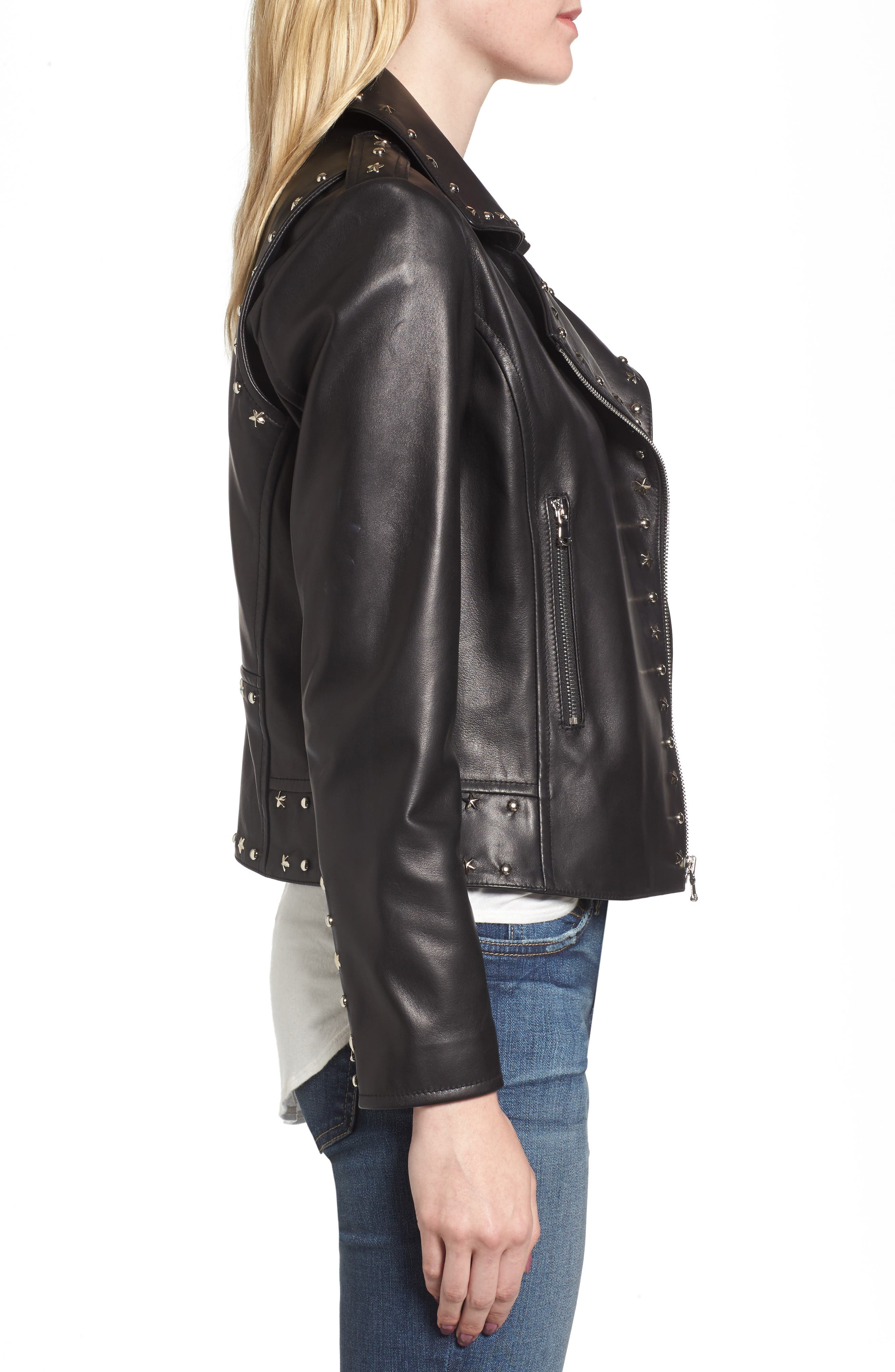 Easton Studded Leather Moto Jacket,                             Alternate thumbnail 3, color,                             BLACK