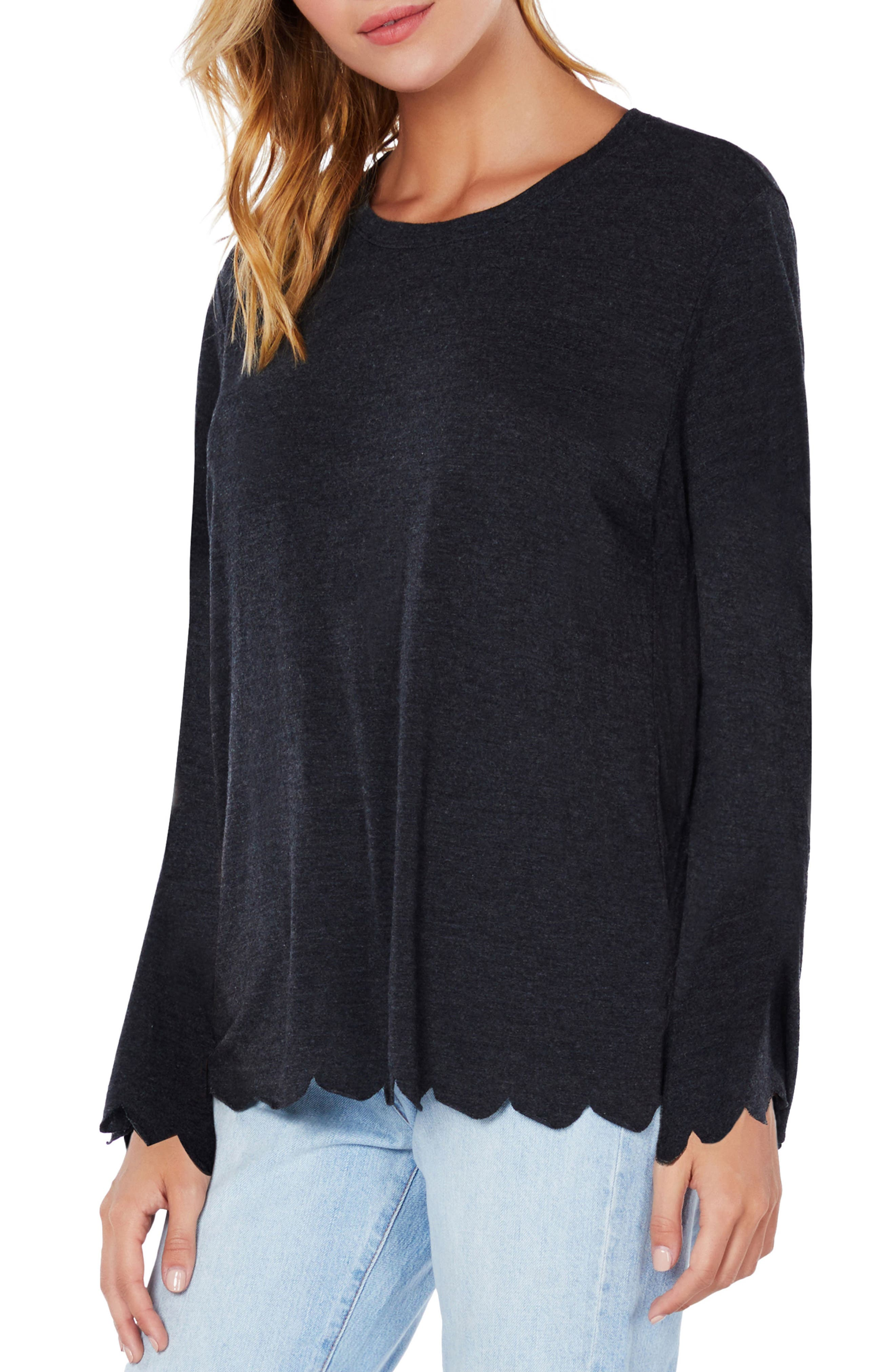 Scallop Trim Jersey Tee,                             Alternate thumbnail 3, color,                             003