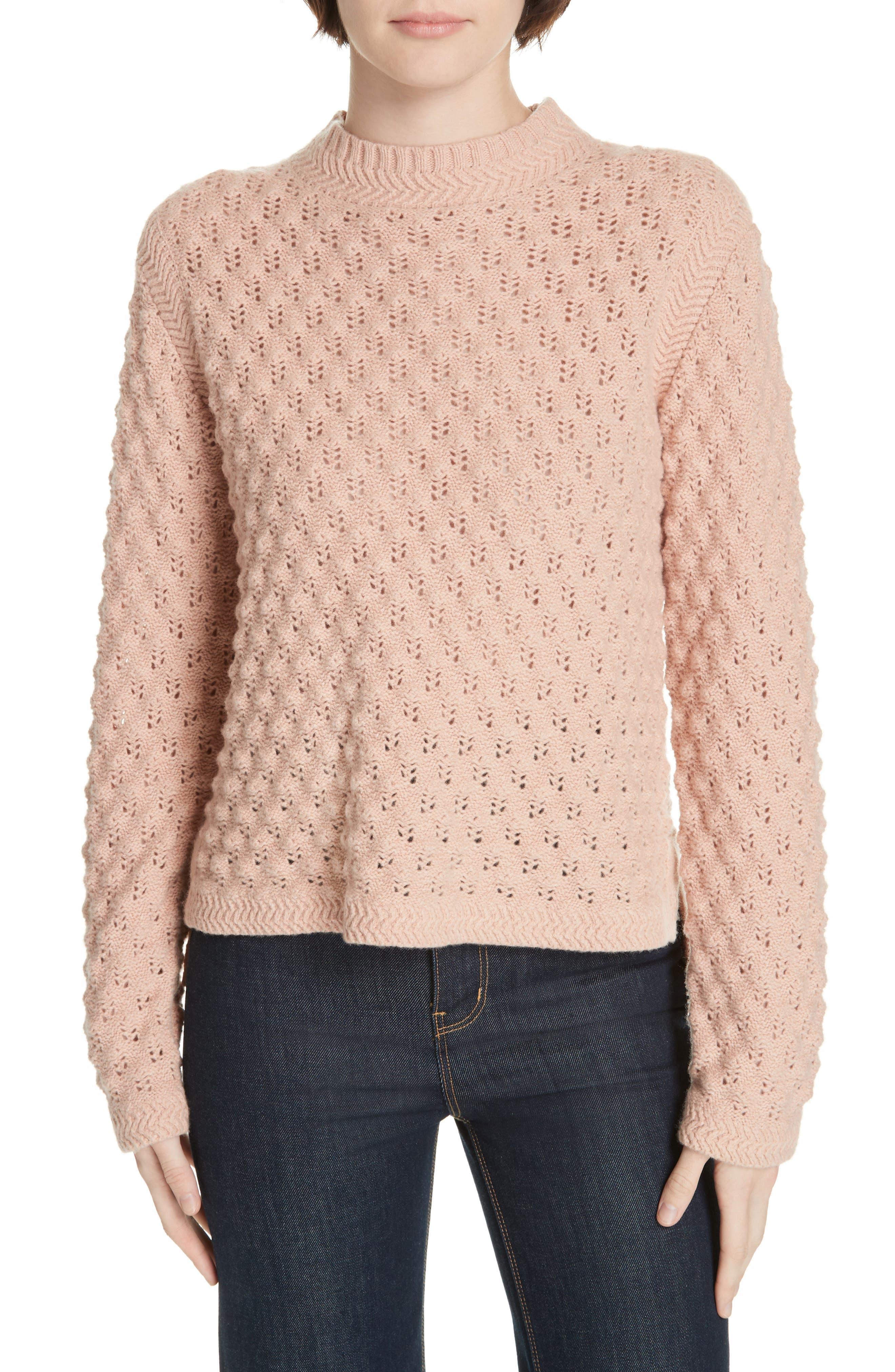 LA VIE REBECCA TAYLOR Pointelle Sweater in Bellini