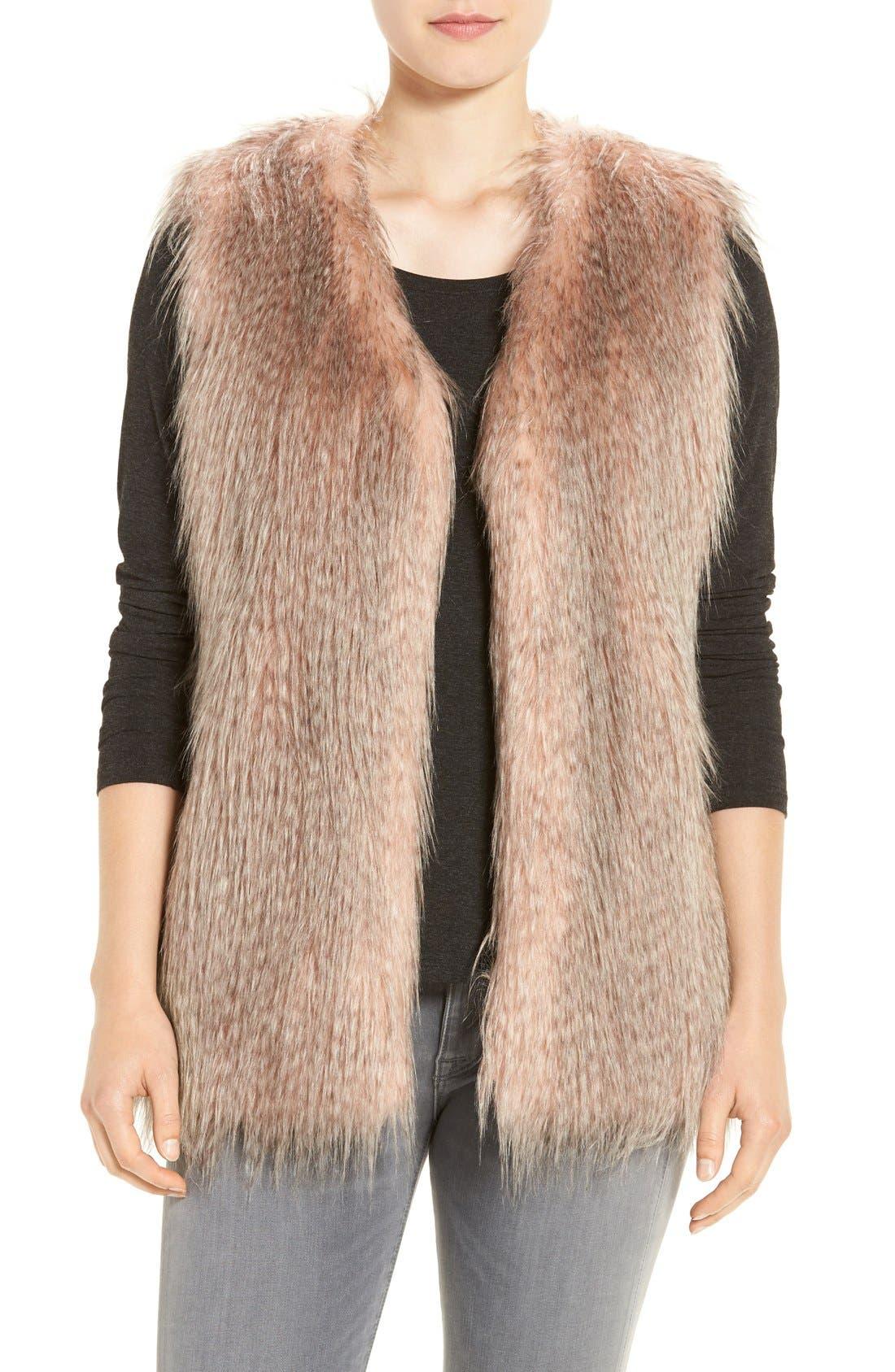 Collarless Faux Fur Vest,                             Main thumbnail 3, color,
