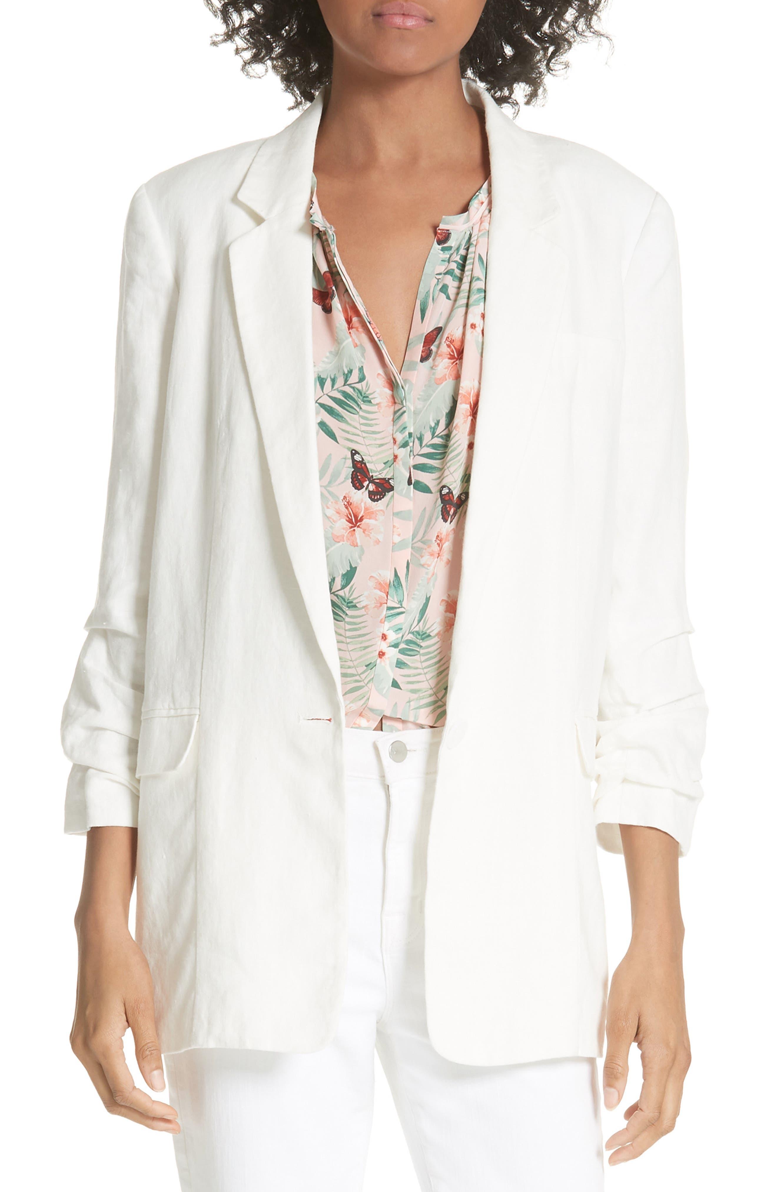 Kishina Ruched Sleeve Linen Blazer,                             Main thumbnail 1, color,                             903