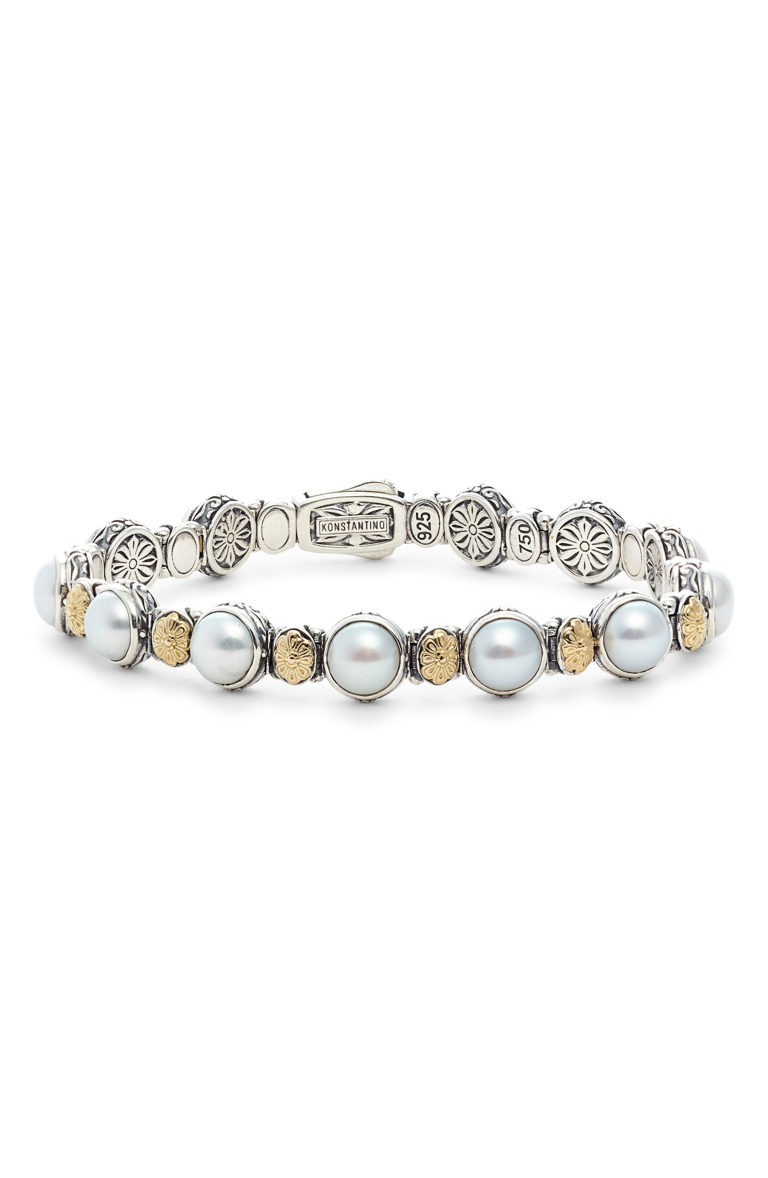 Sterling Silver, Gold & Pearl Bracelet,                             Main thumbnail 1, color,                             WHITE/ SILVER/ GOLD