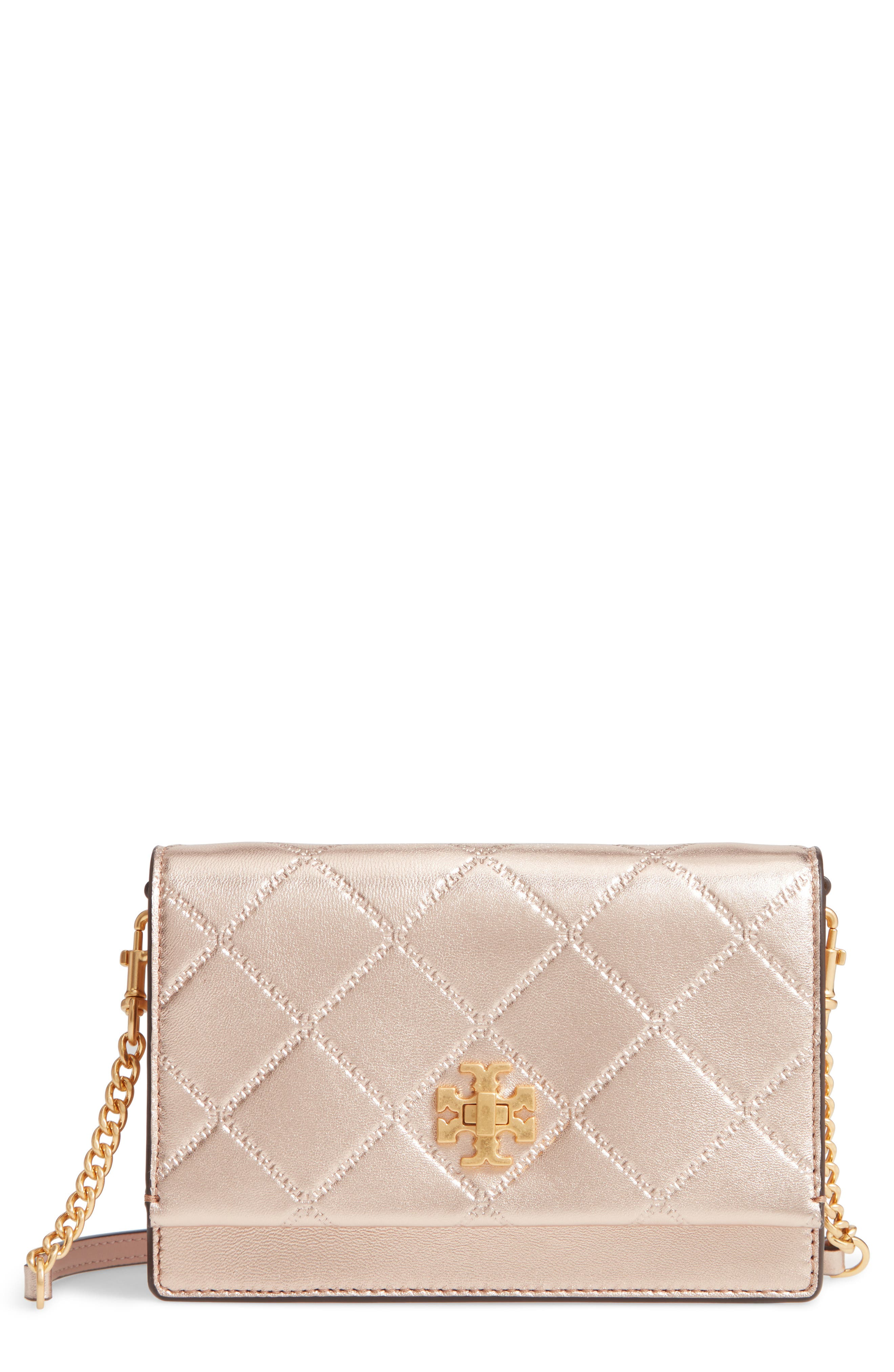 TORY BURCH Mini Georgia Quilted Metallic Leather Shoulder Bag, Main, color, 650