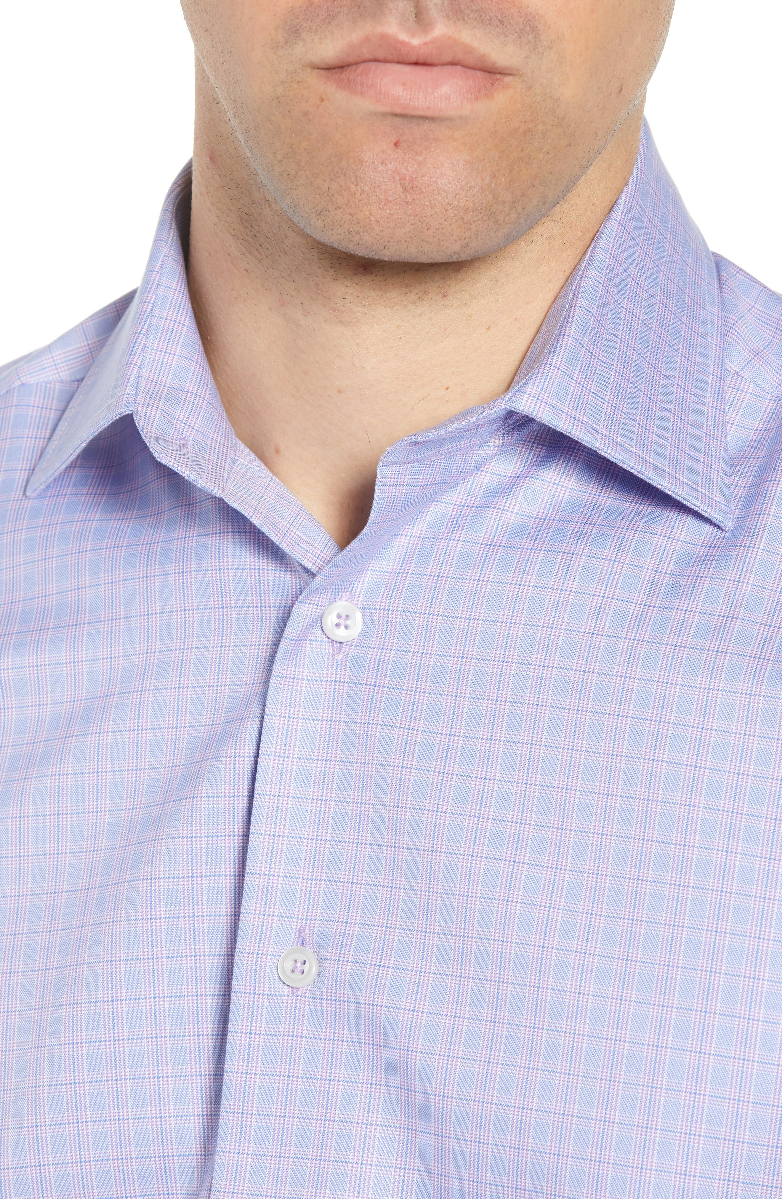 Trim Fit Plaid Dress Shirt,                             Alternate thumbnail 2, color,                             LILAC