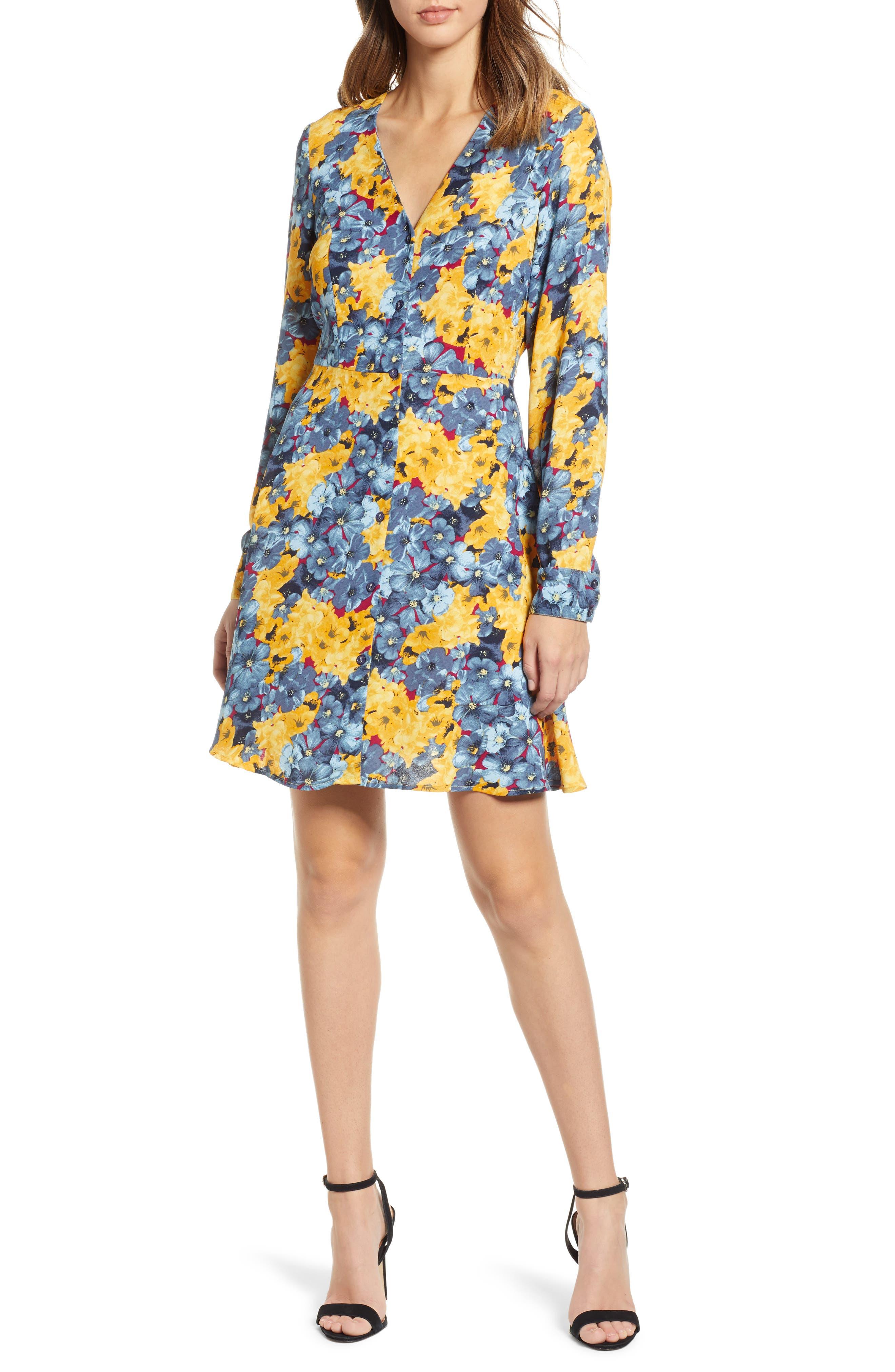 VERO MODA Mille Floral Print Minidress in Smoke Blue/ Mille Print
