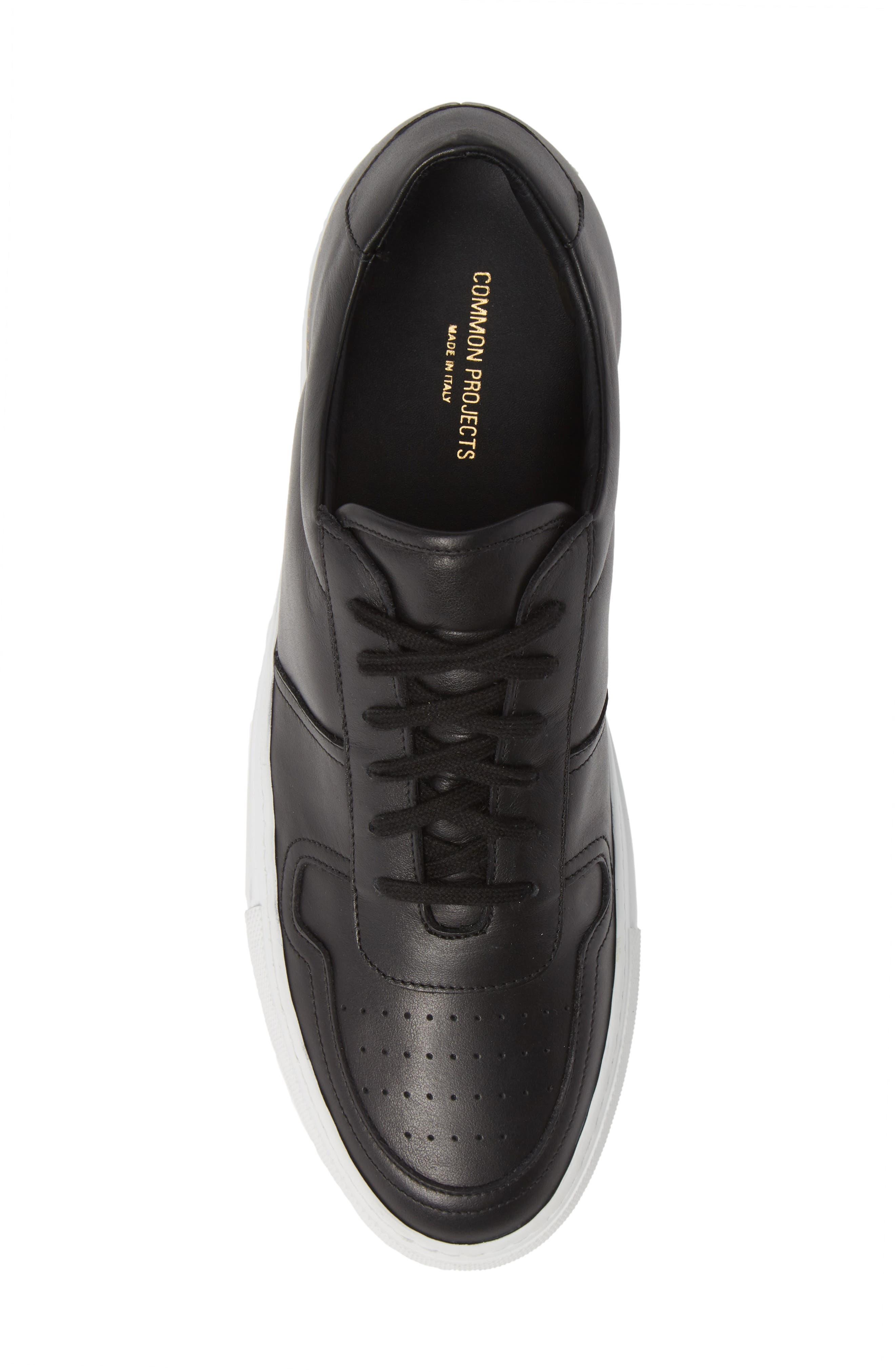 Bball Low Top Sneaker,                             Alternate thumbnail 5, color,                             BLACK