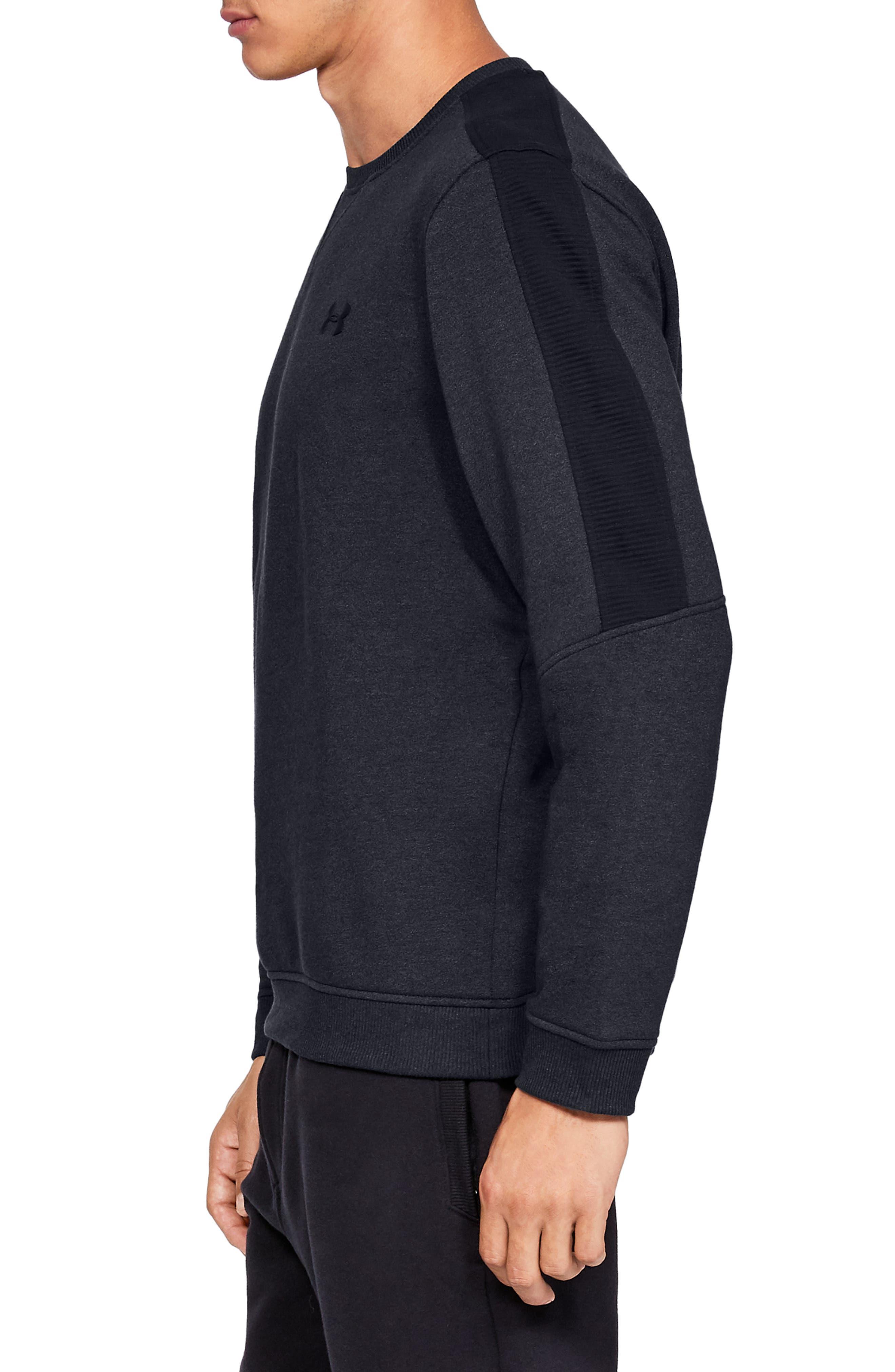 Threadborne Siro Fleece Crewneck Sweatshirt,                             Alternate thumbnail 3, color,                             BLACK/ BLACK/ BLACK