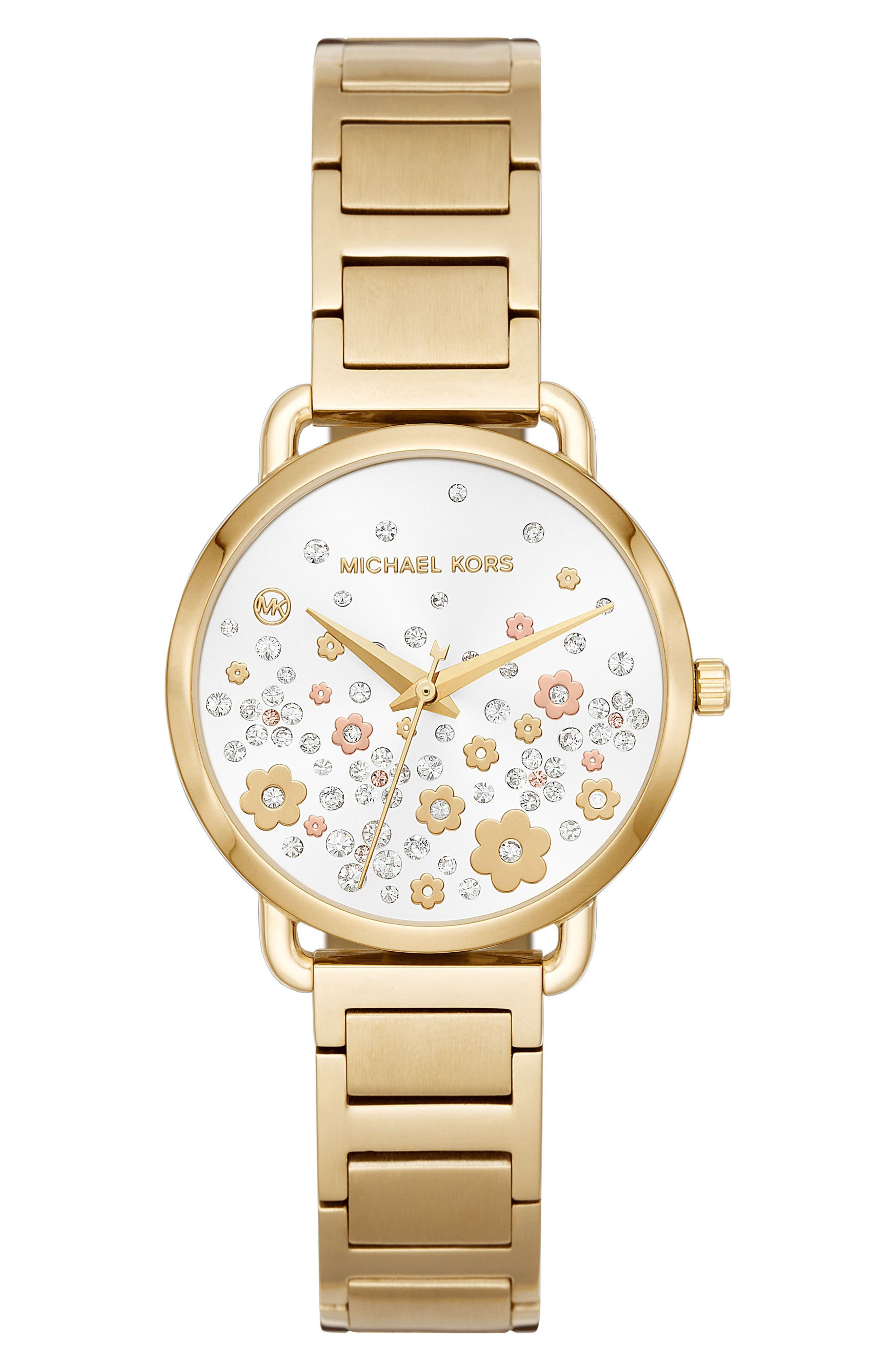 Portia Crystal Accent Bracelet Watch, 32mm,                             Main thumbnail 1, color,                             710