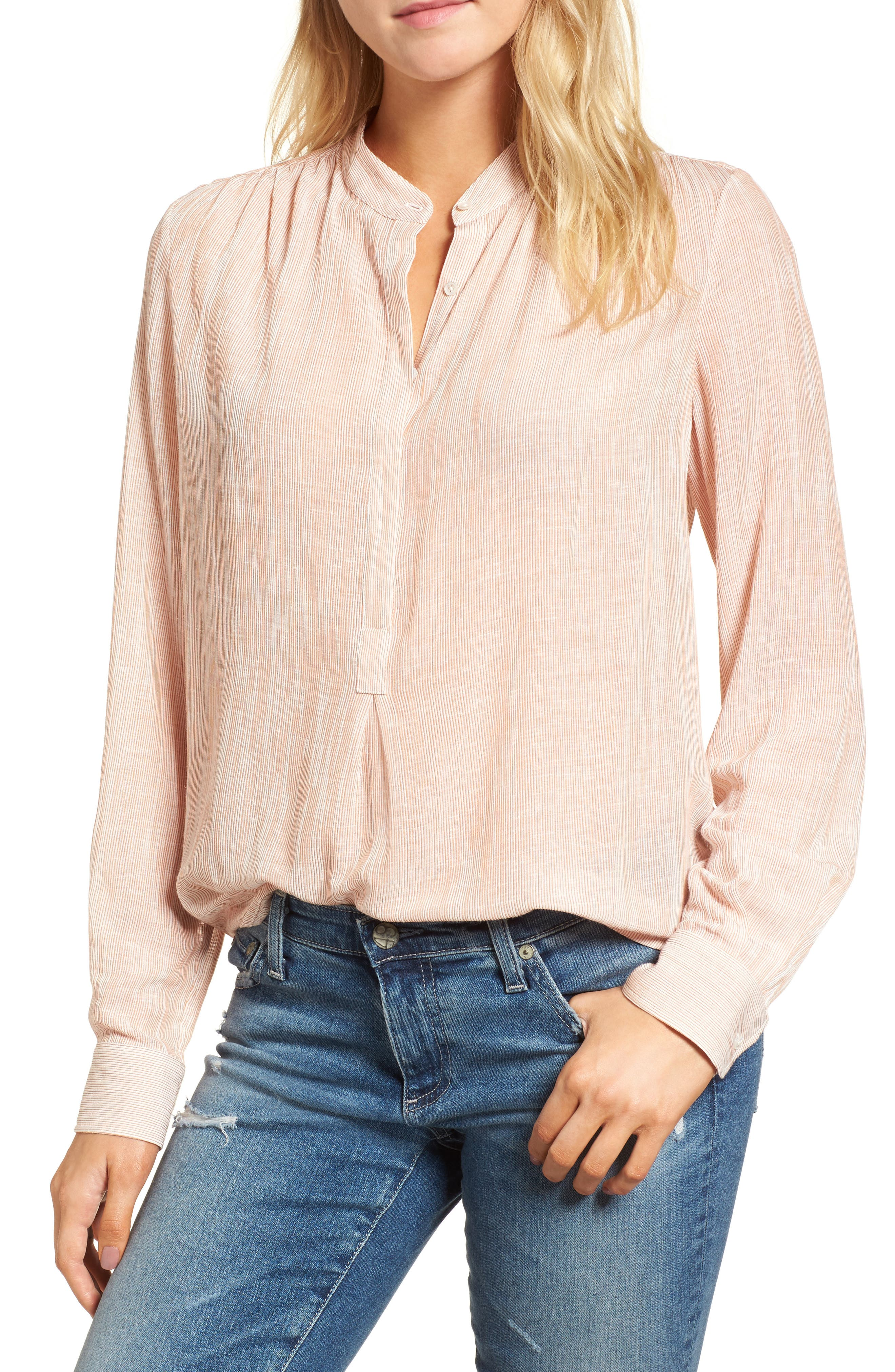 Audryn Crinkle Top,                         Main,                         color, BURNT UMBER/ WHITE