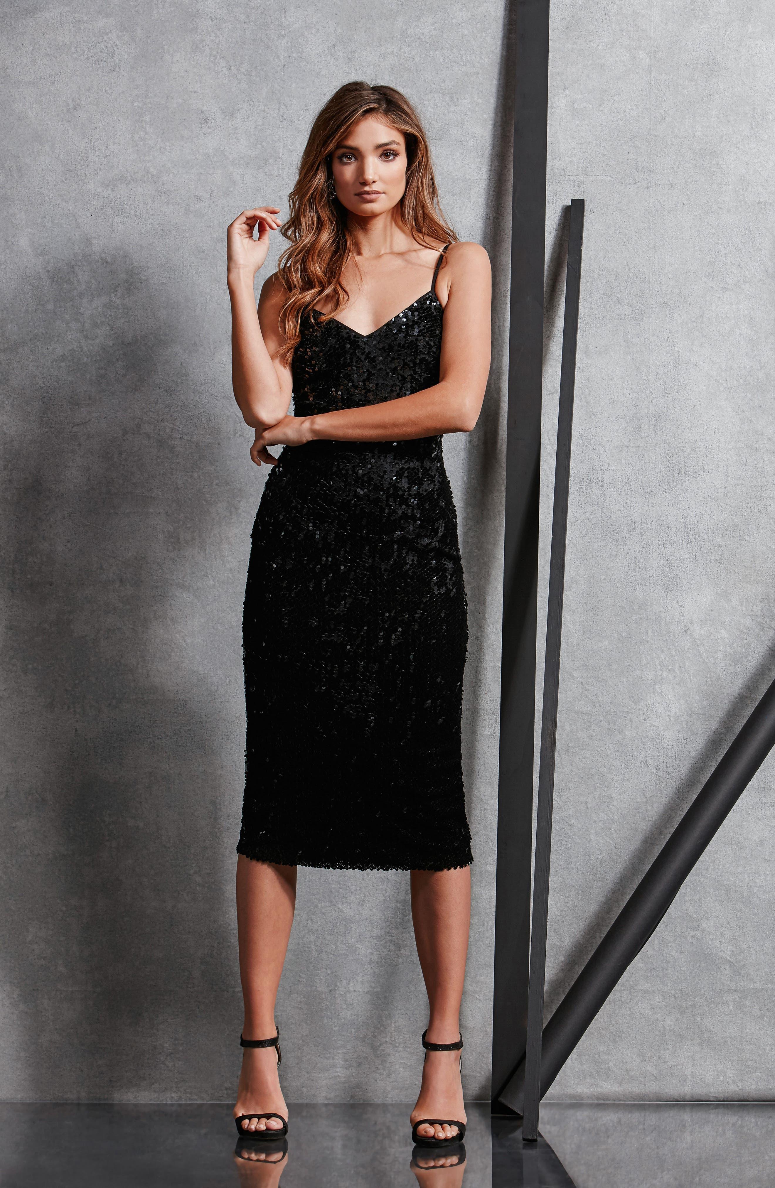 Nina Sequin Velvet Body-Con Dress,                             Alternate thumbnail 6, color,                             001