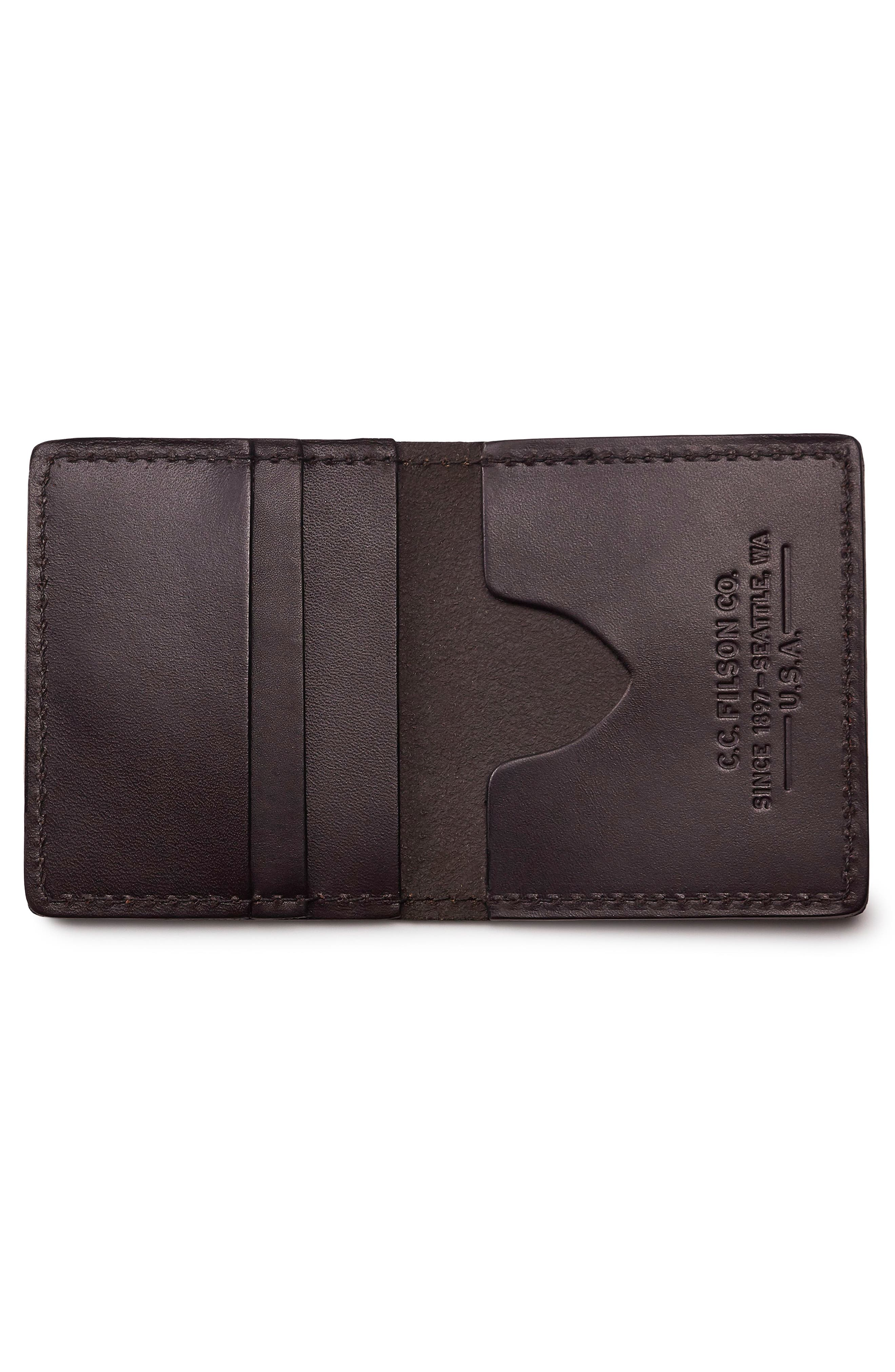 Leather Bifold Cash & Card Case,                             Alternate thumbnail 2, color,                             BROWN
