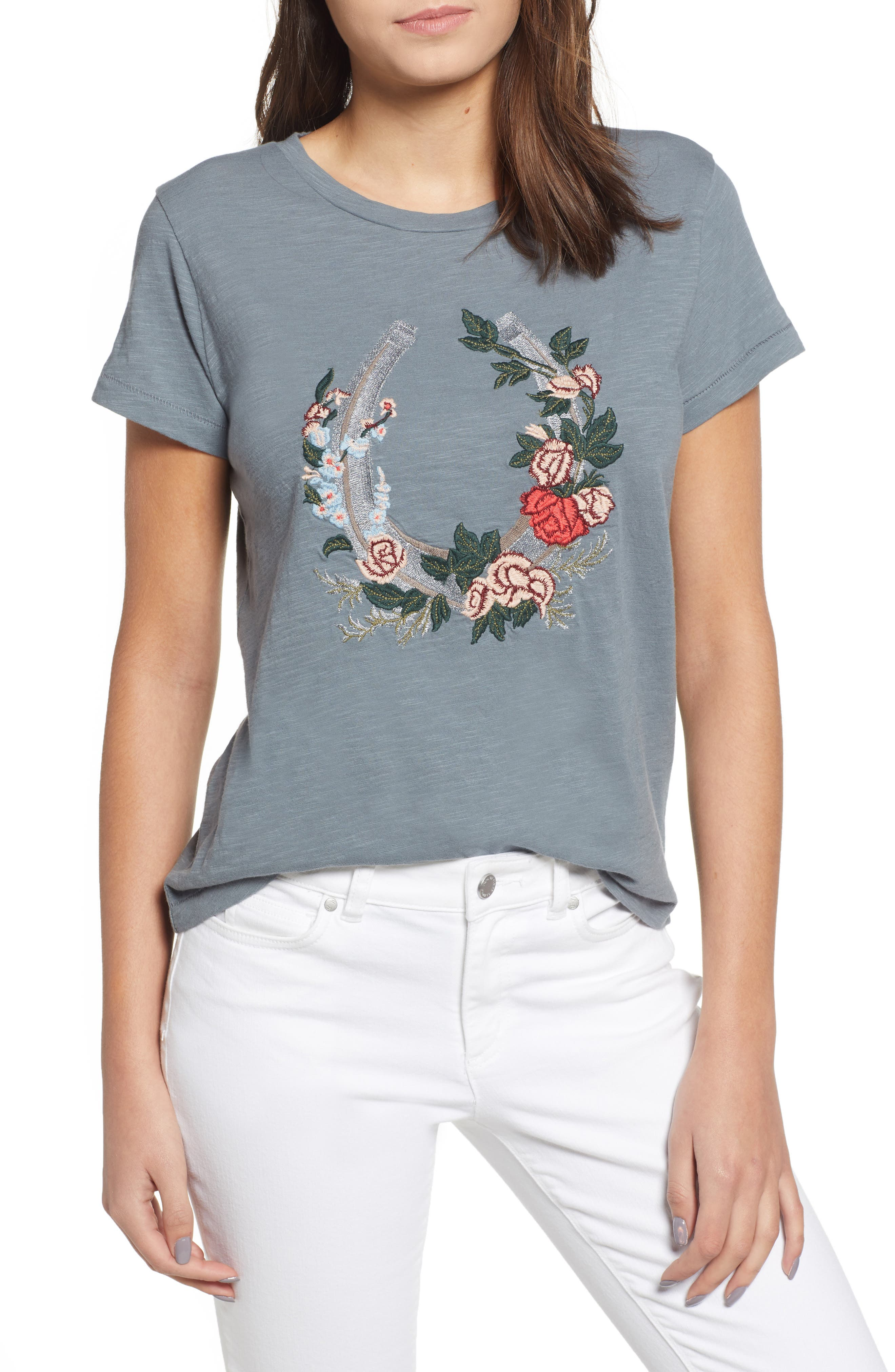Floral Embroidery Tee,                             Main thumbnail 1, color,                             060
