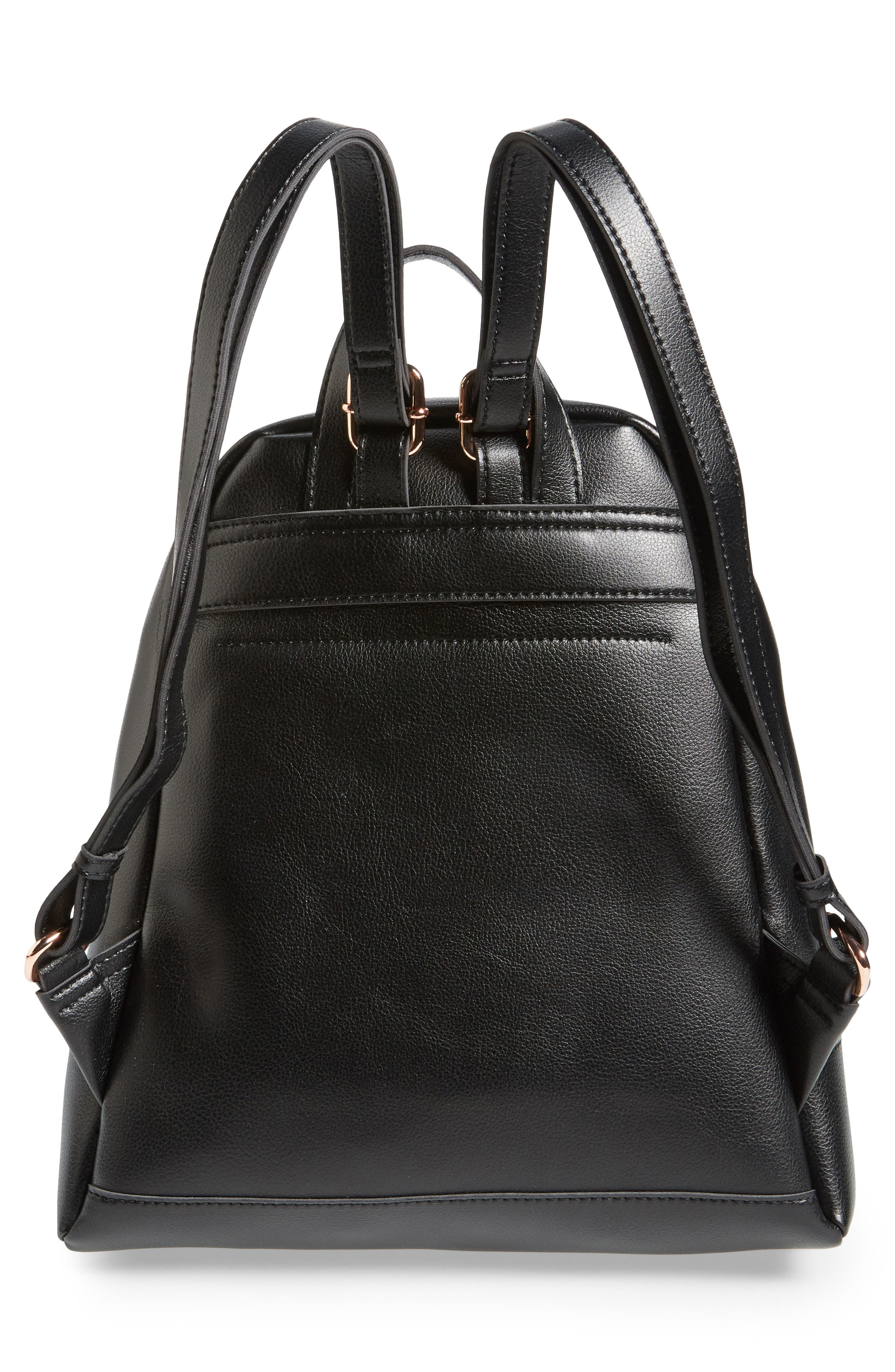 Chester Faux Leather Backpack,                             Alternate thumbnail 3, color,                             001