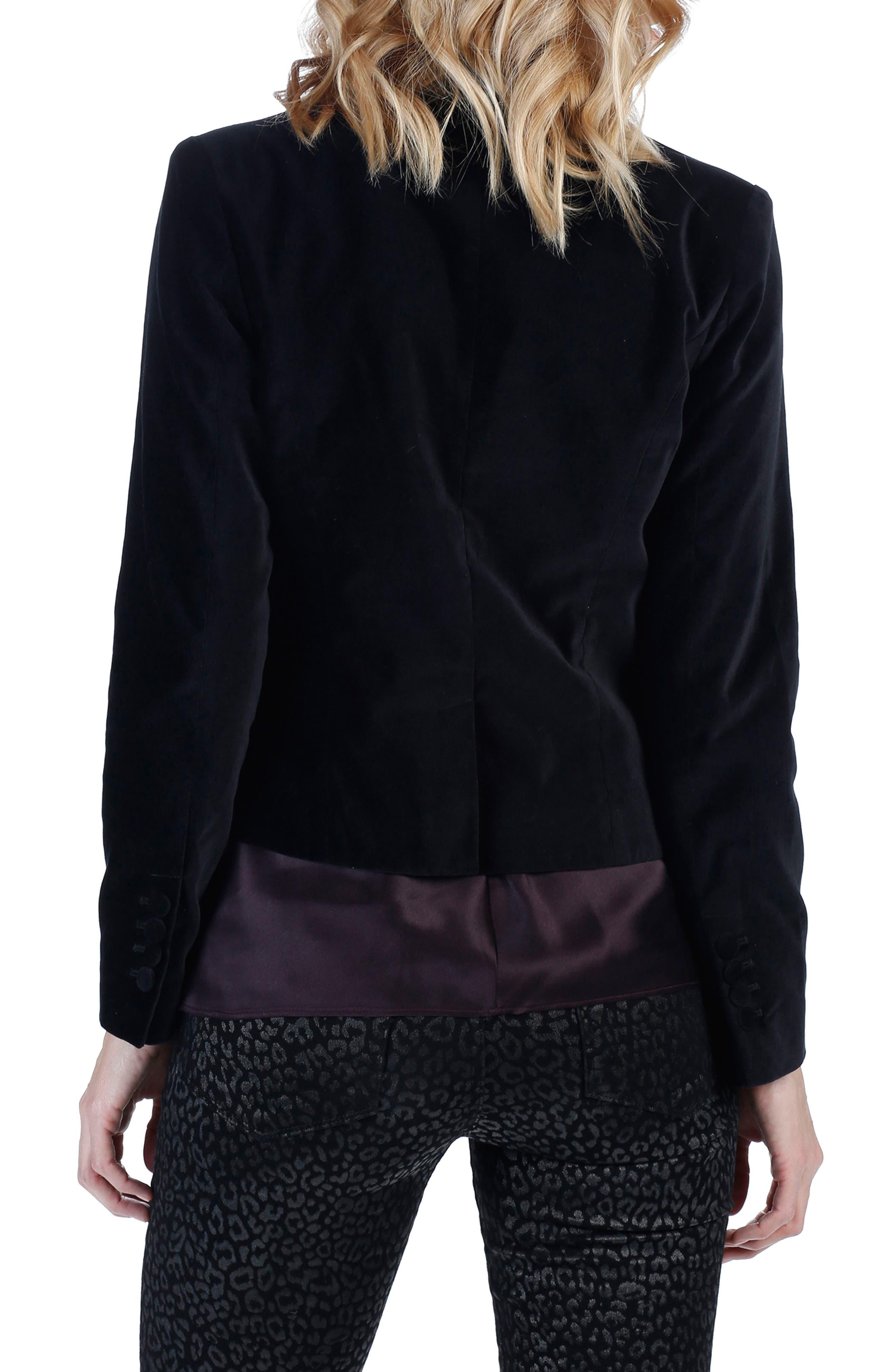 Camilia Leather Lapel Velvet Jacket,                             Alternate thumbnail 2, color,                             001