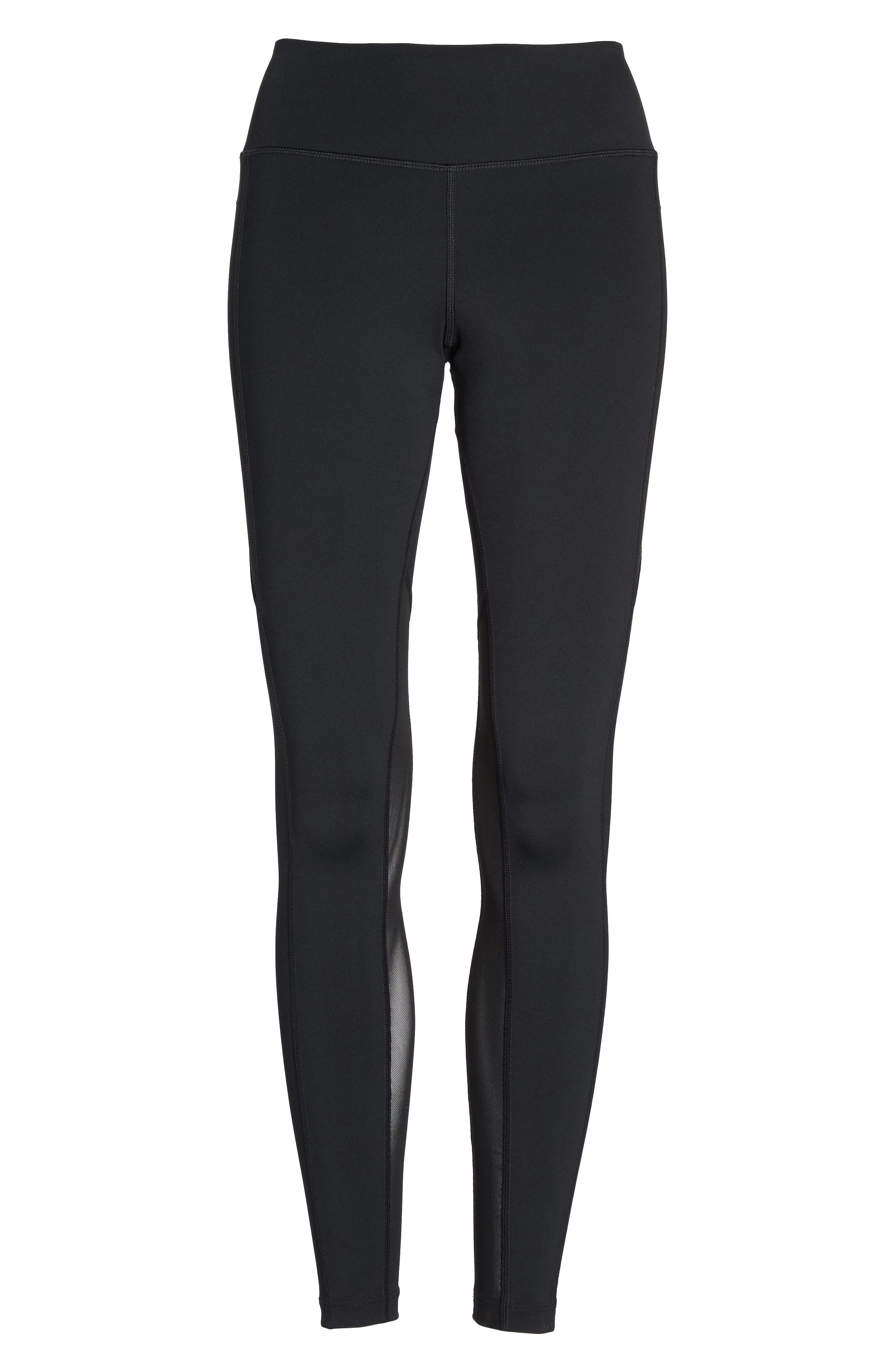 Power Pocket Lux Ankle Tights,                             Alternate thumbnail 7, color,                             BLACK/ BLACK/ CLEAR