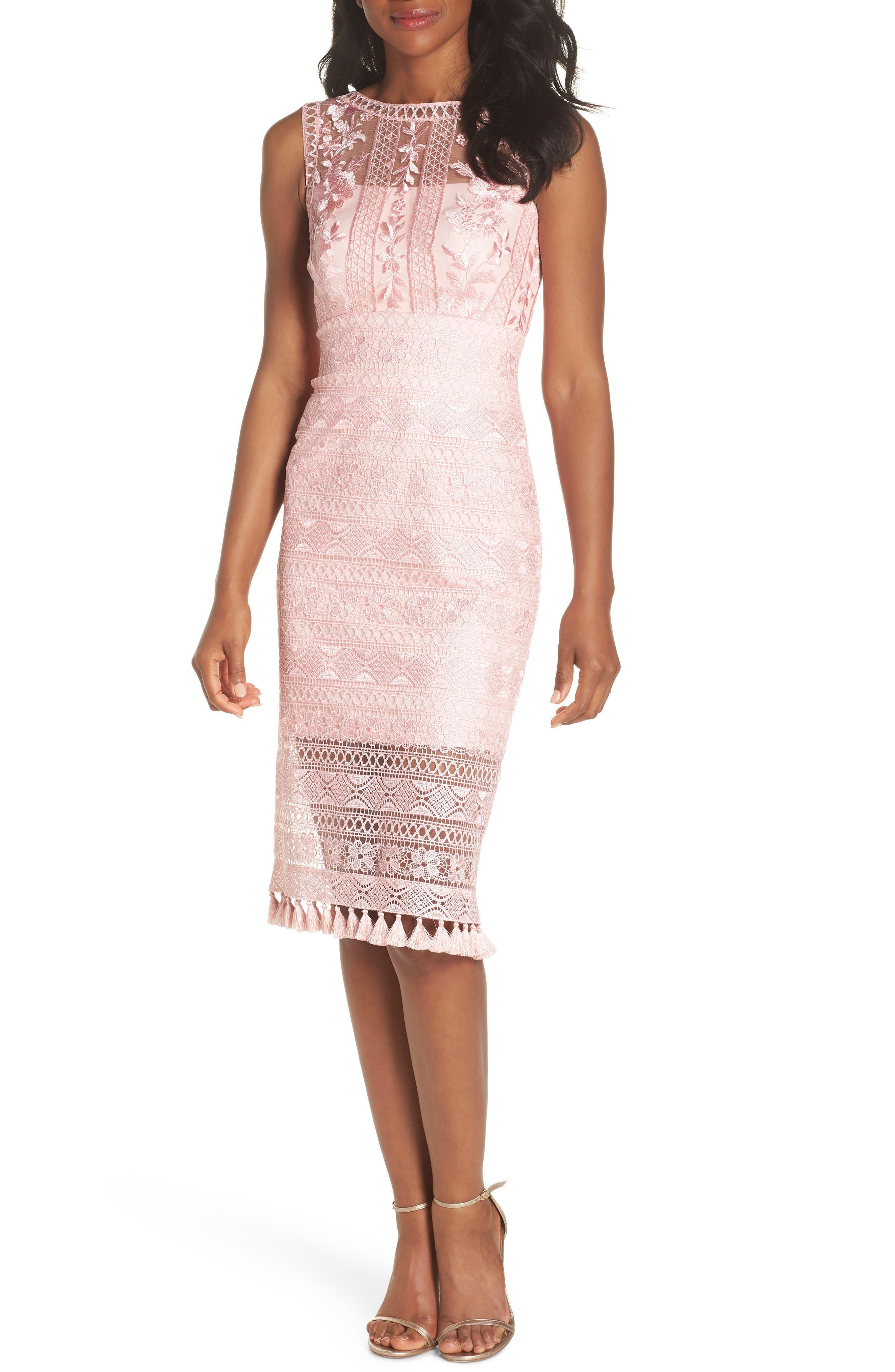 Embroidered Lace Sheath Dress,                             Main thumbnail 1, color,                             ROSE QUARTZ