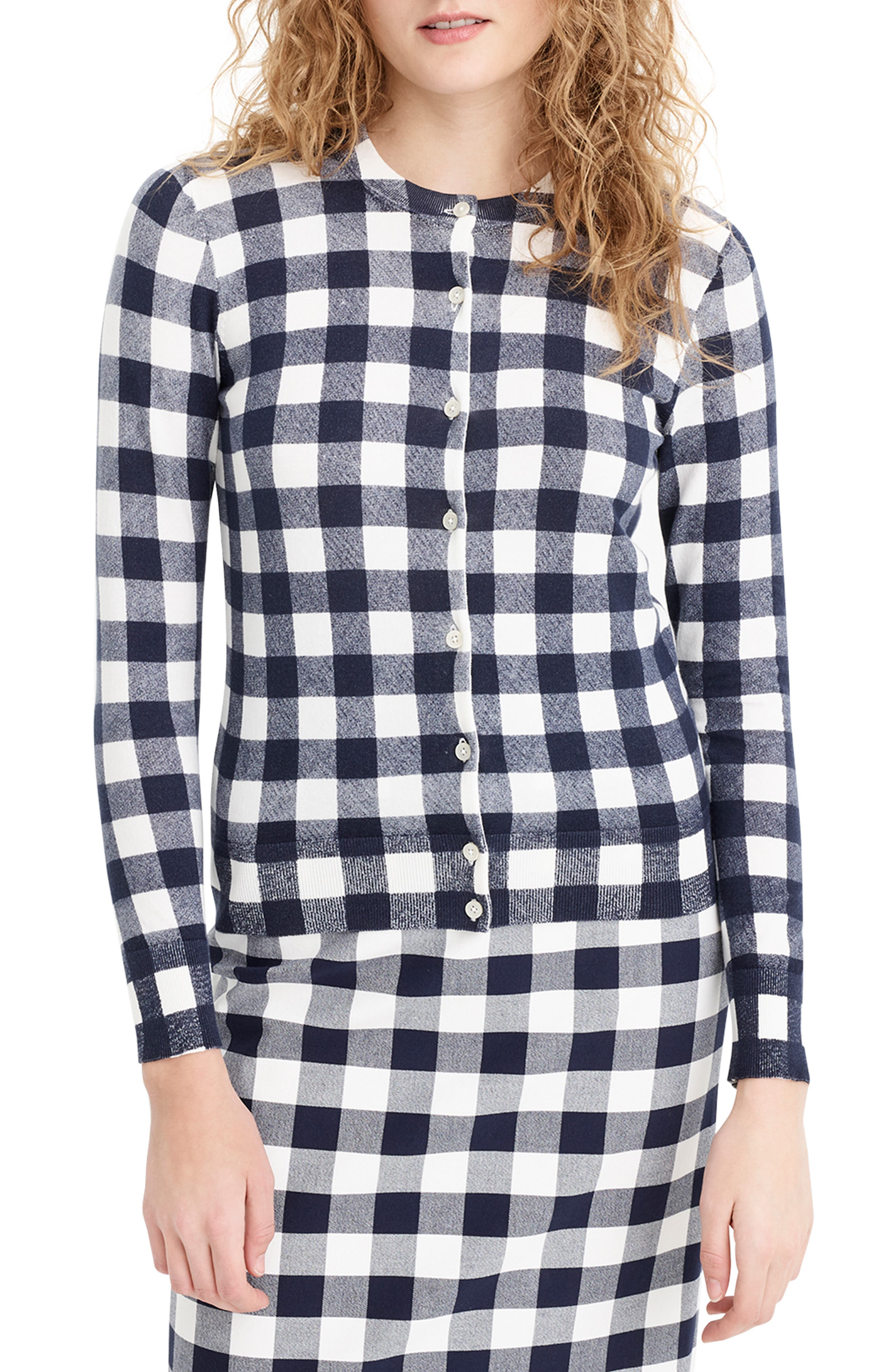 Jackie Gingham Cotton Blend Cardigan by J.Crew