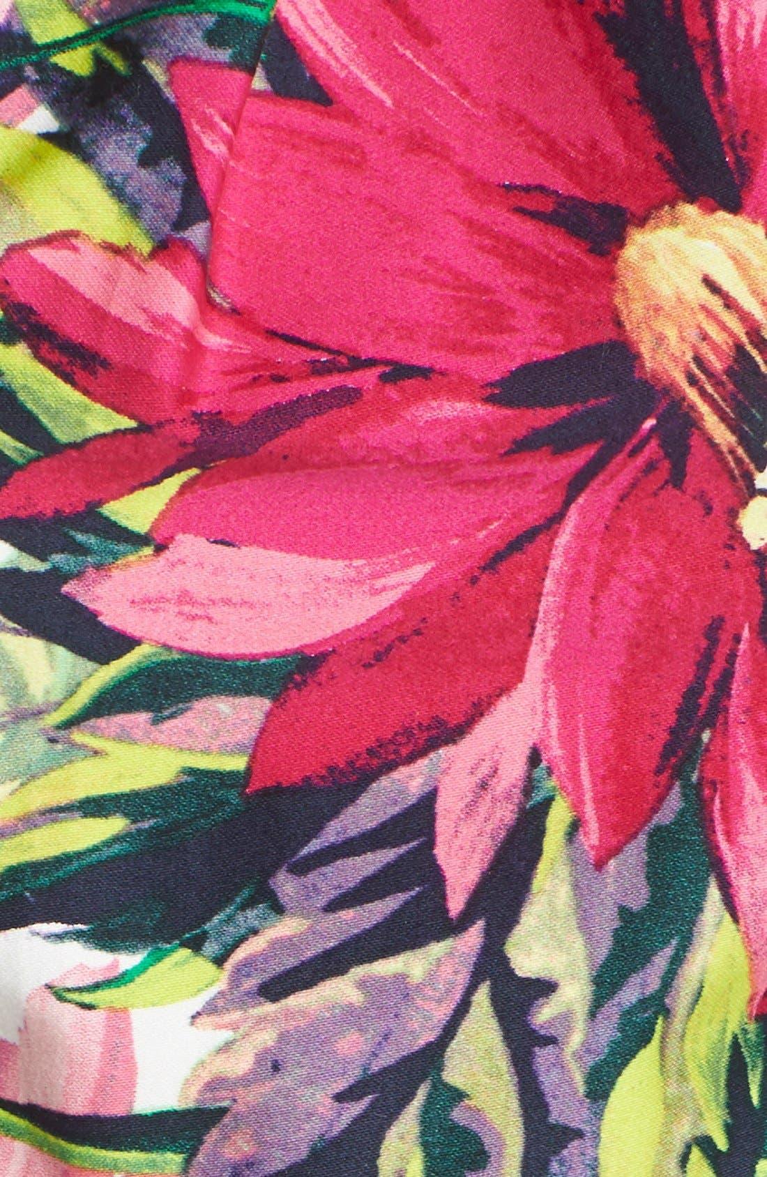 Floral Print Tea Length Fit & Flare Dress,                             Alternate thumbnail 4, color,                             653
