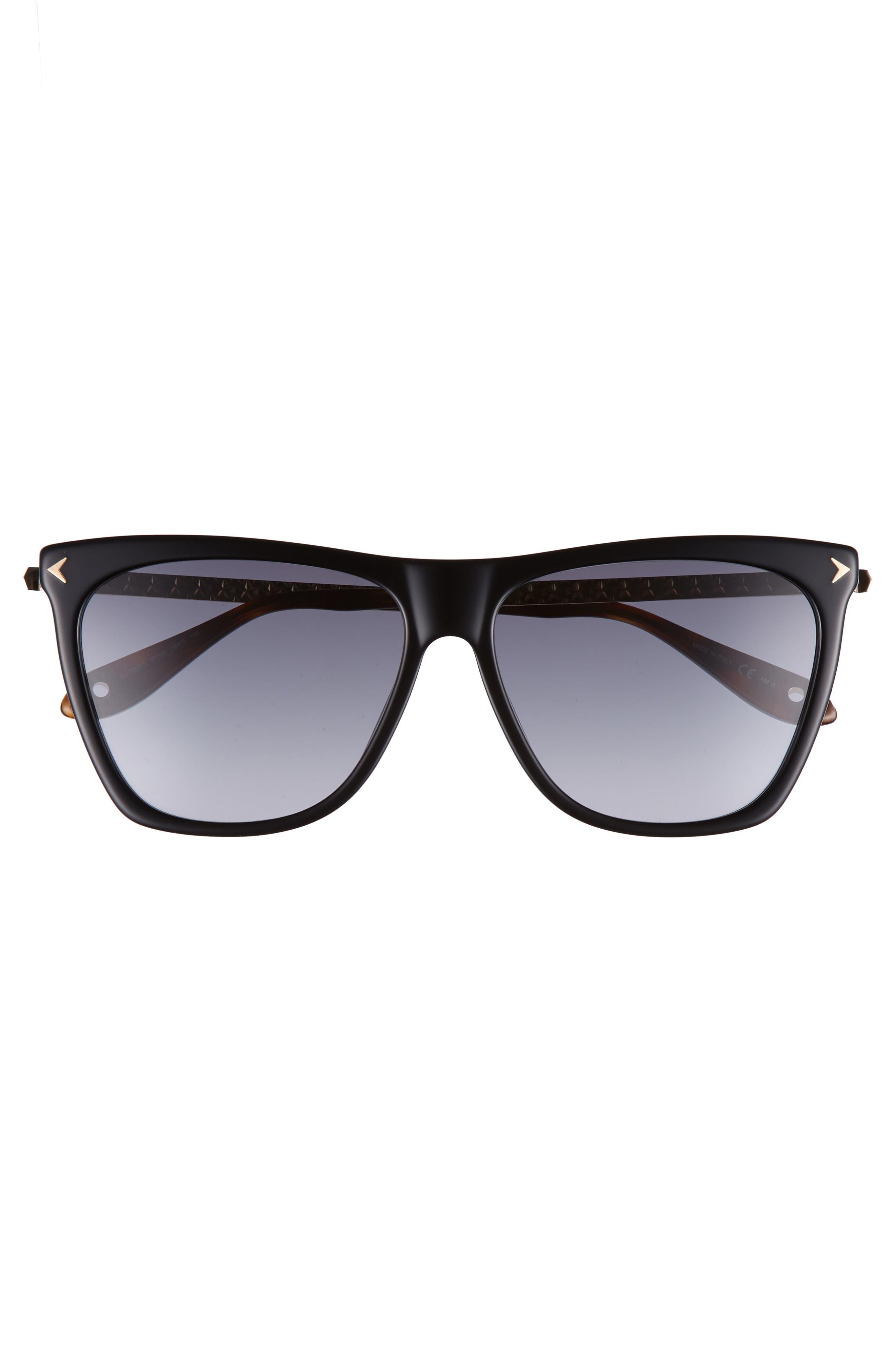 58mm Flat Top Sunglasses,                             Alternate thumbnail 3, color,                             BLACK