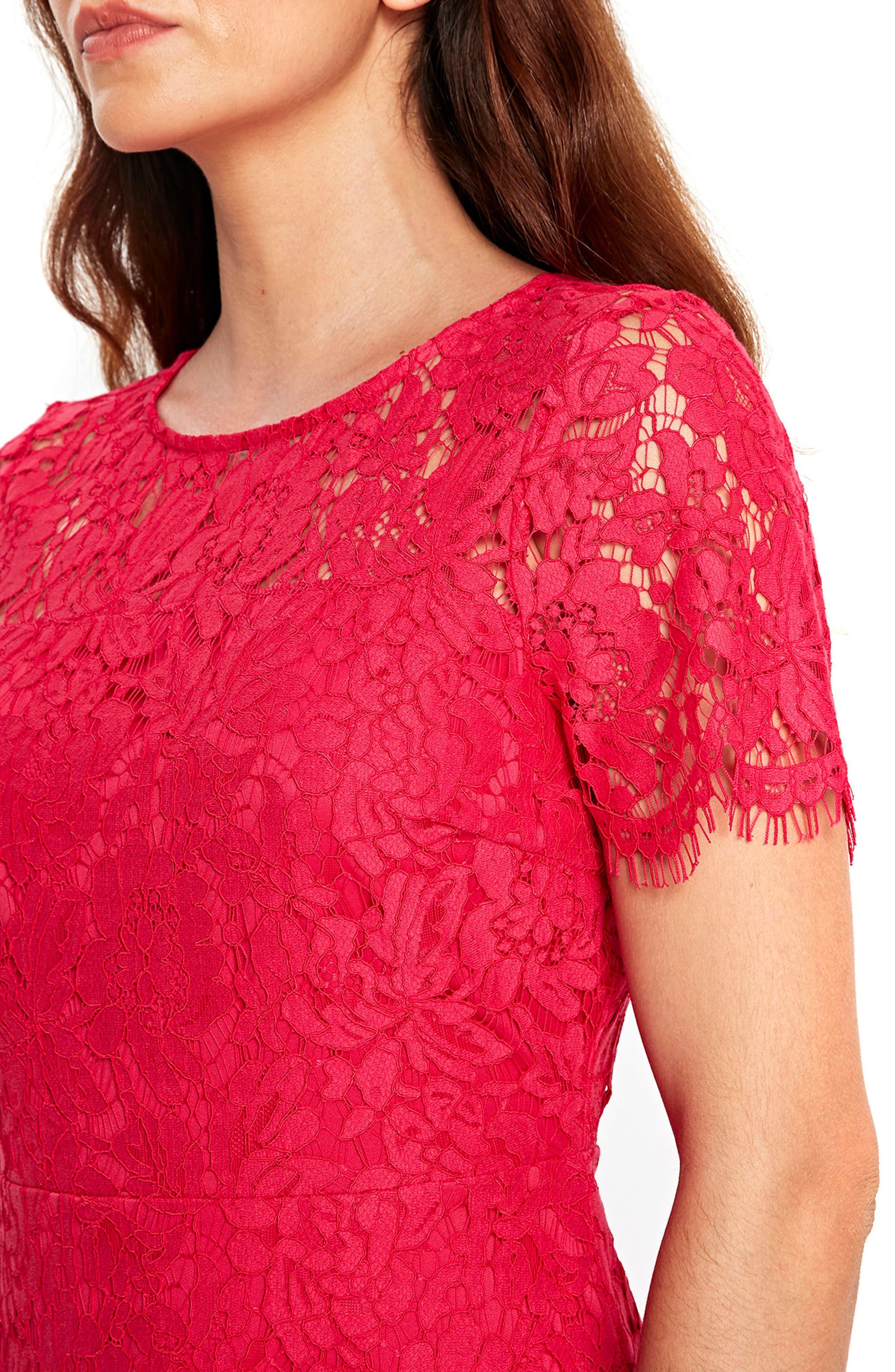 Lace Peplum Hem Dress,                             Alternate thumbnail 3, color,                             650