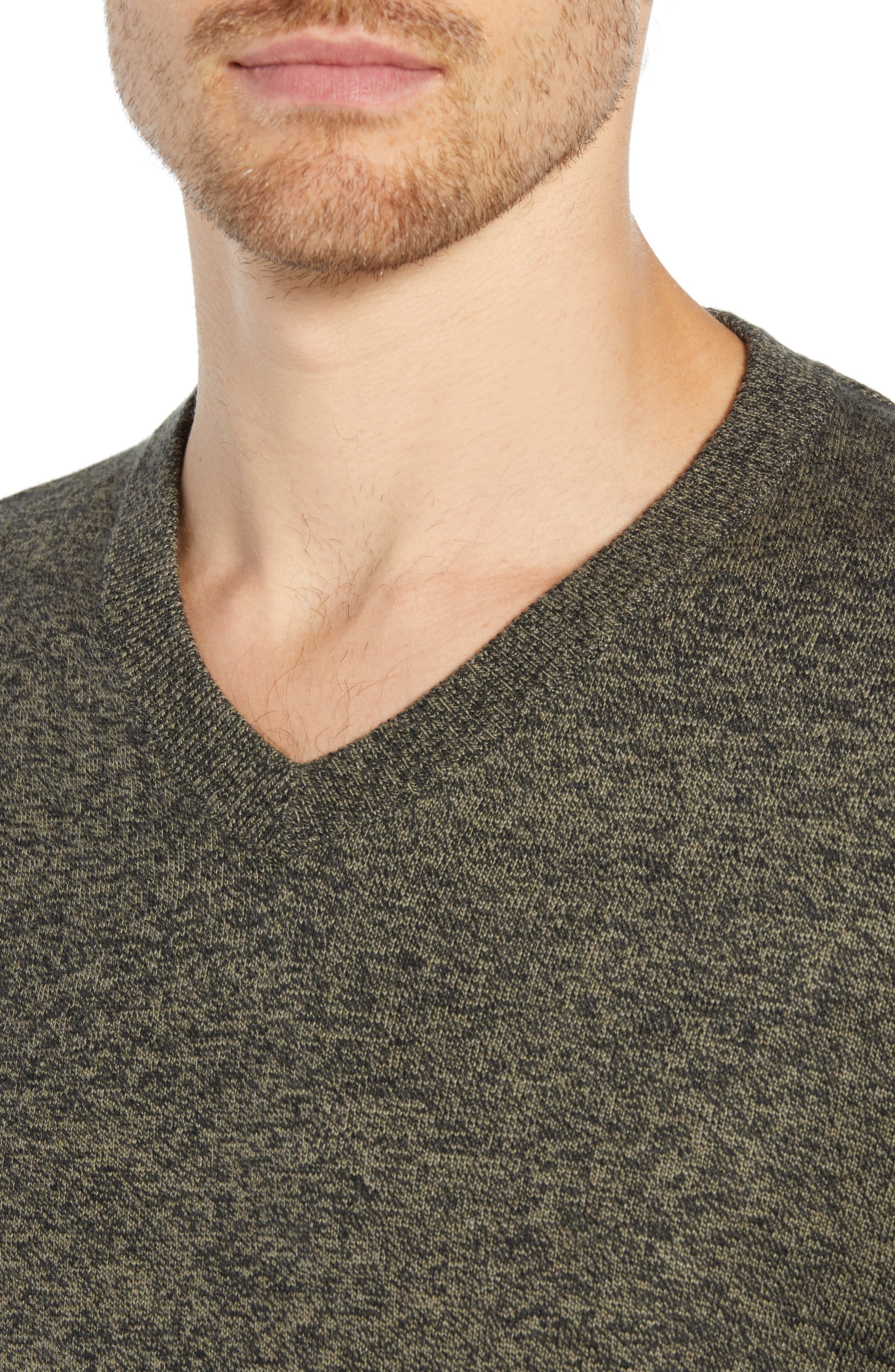 Cotton & Cashmere V-Neck Sweater,                             Alternate thumbnail 4, color,                             GREEN FOREST MARL
