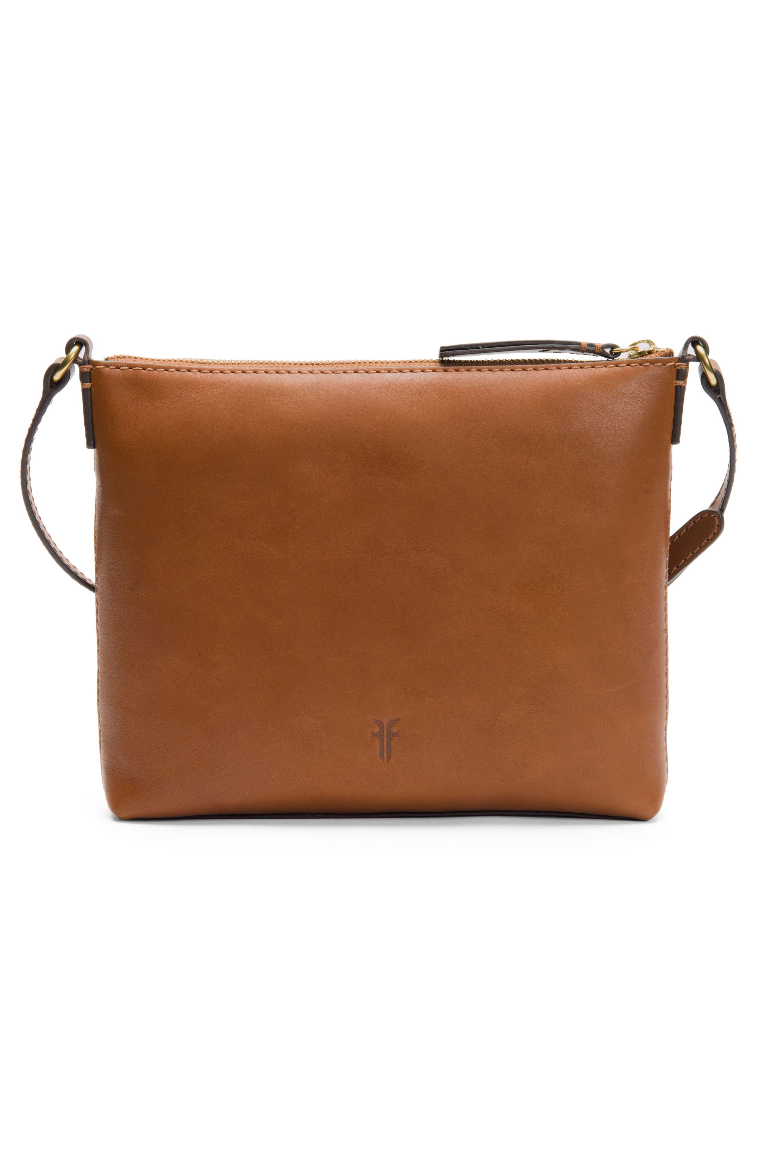 Carson Leather Crossbody Bag,                             Alternate thumbnail 3, color,                             COGNAC