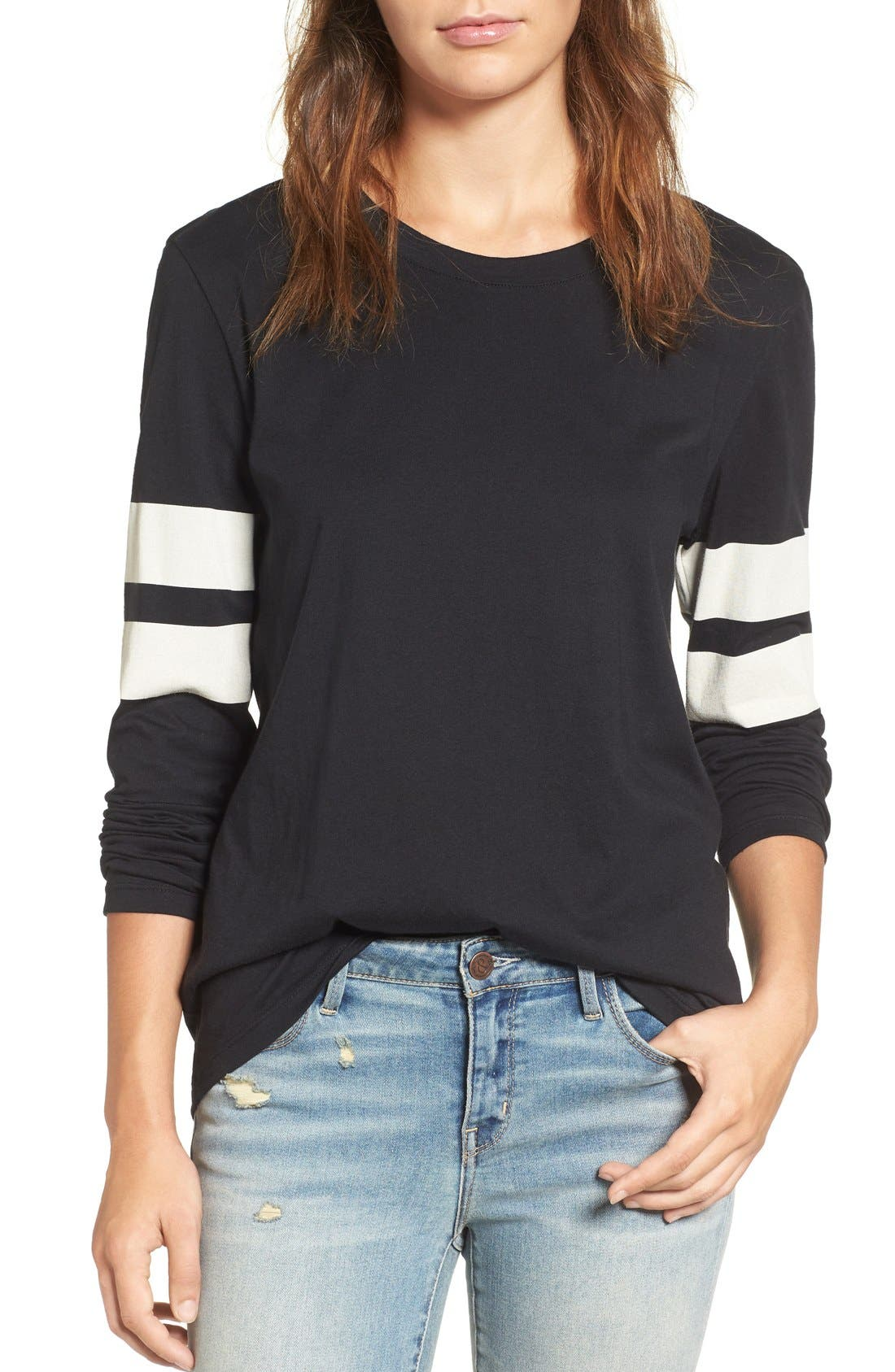 Varsity Stripe Cotton Tee,                             Main thumbnail 17, color,