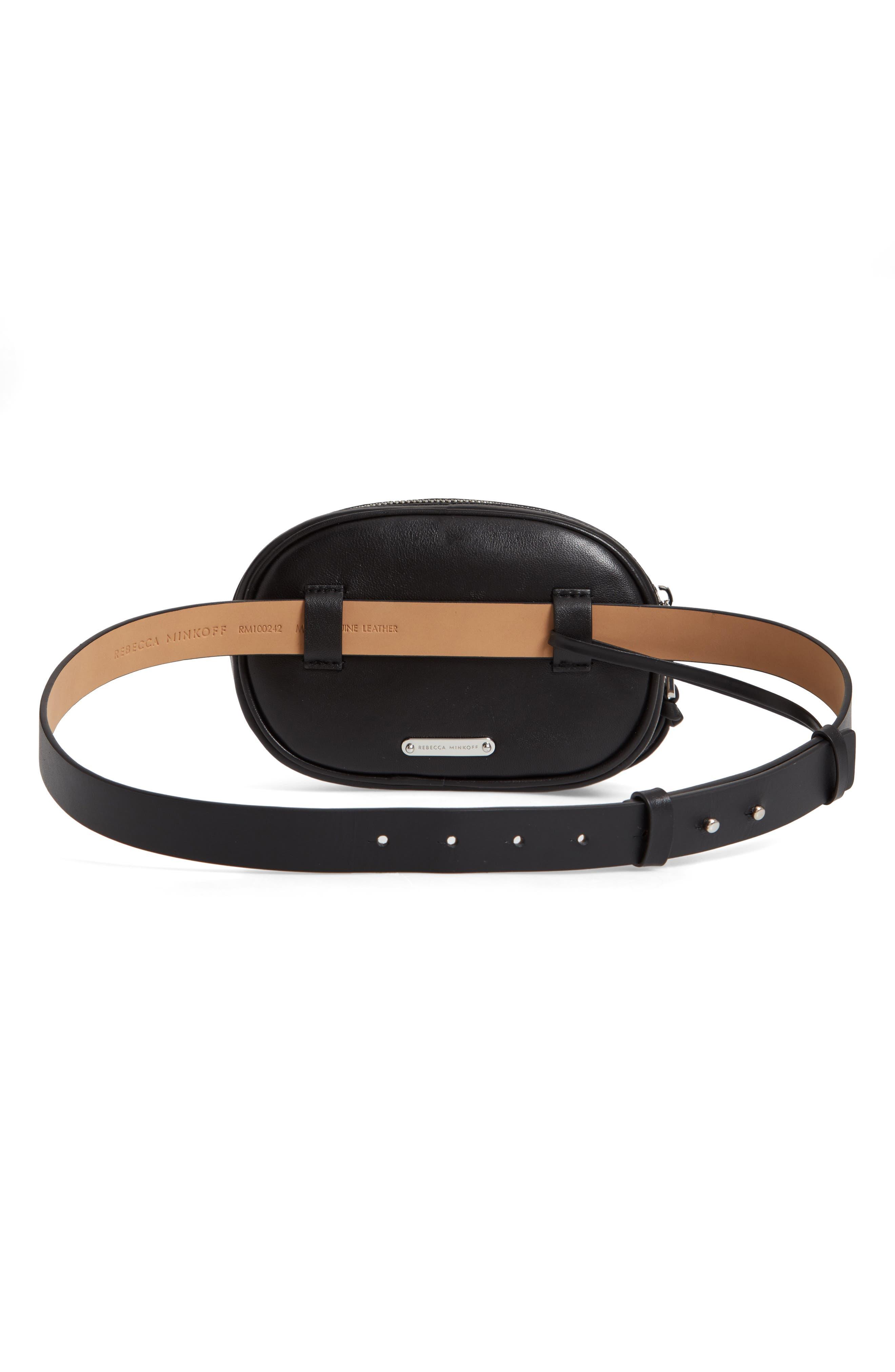 Montse Quilted Leather Belt Beg,                             Alternate thumbnail 4, color,                             BLACK