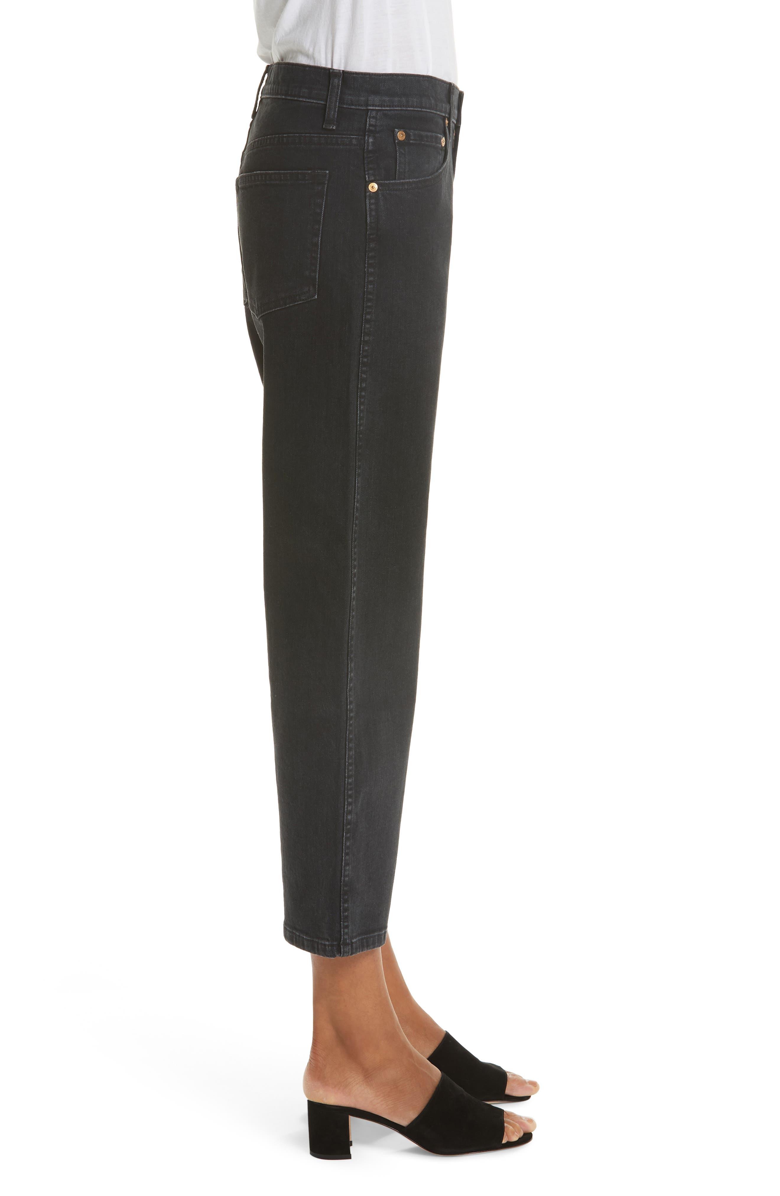 KHAITE,                             Wendell Wide Leg Crop Jeans,                             Alternate thumbnail 3, color,                             STONED BLACK
