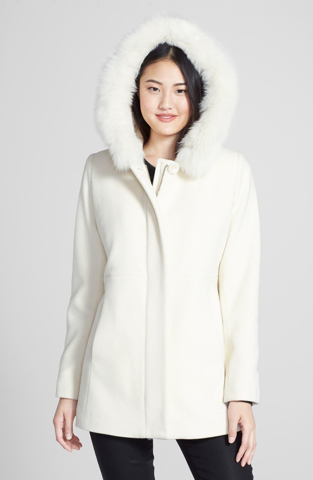 Genuine Fox Fur Trim Hooded Wool Blend Coat,                             Alternate thumbnail 29, color,