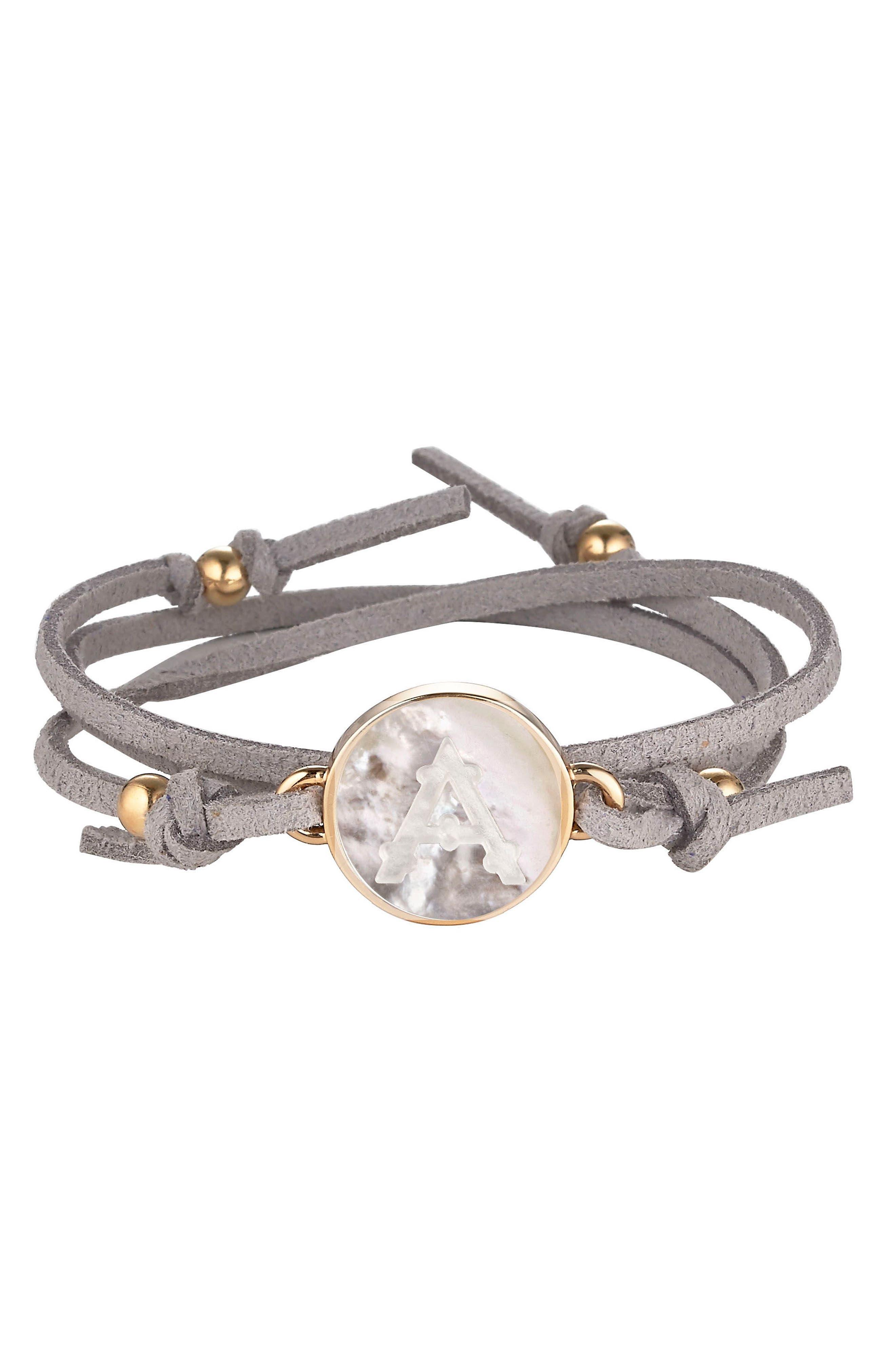 Initial Suede Wrap Bracelet,                             Main thumbnail 1, color,                             GREY - A