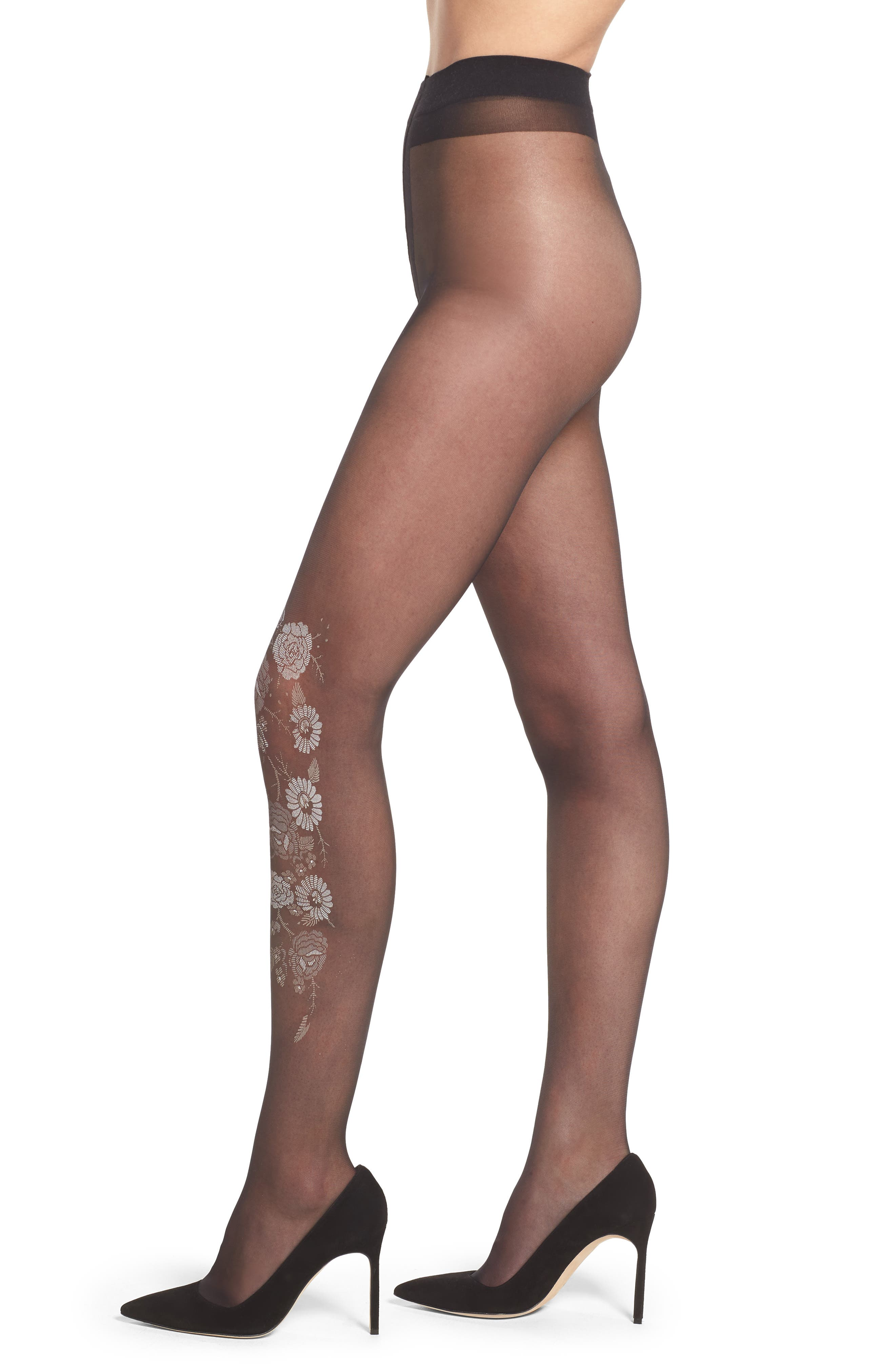 OROBLU,                             Collant Flower Pantyhose,                             Main thumbnail 1, color,                             001