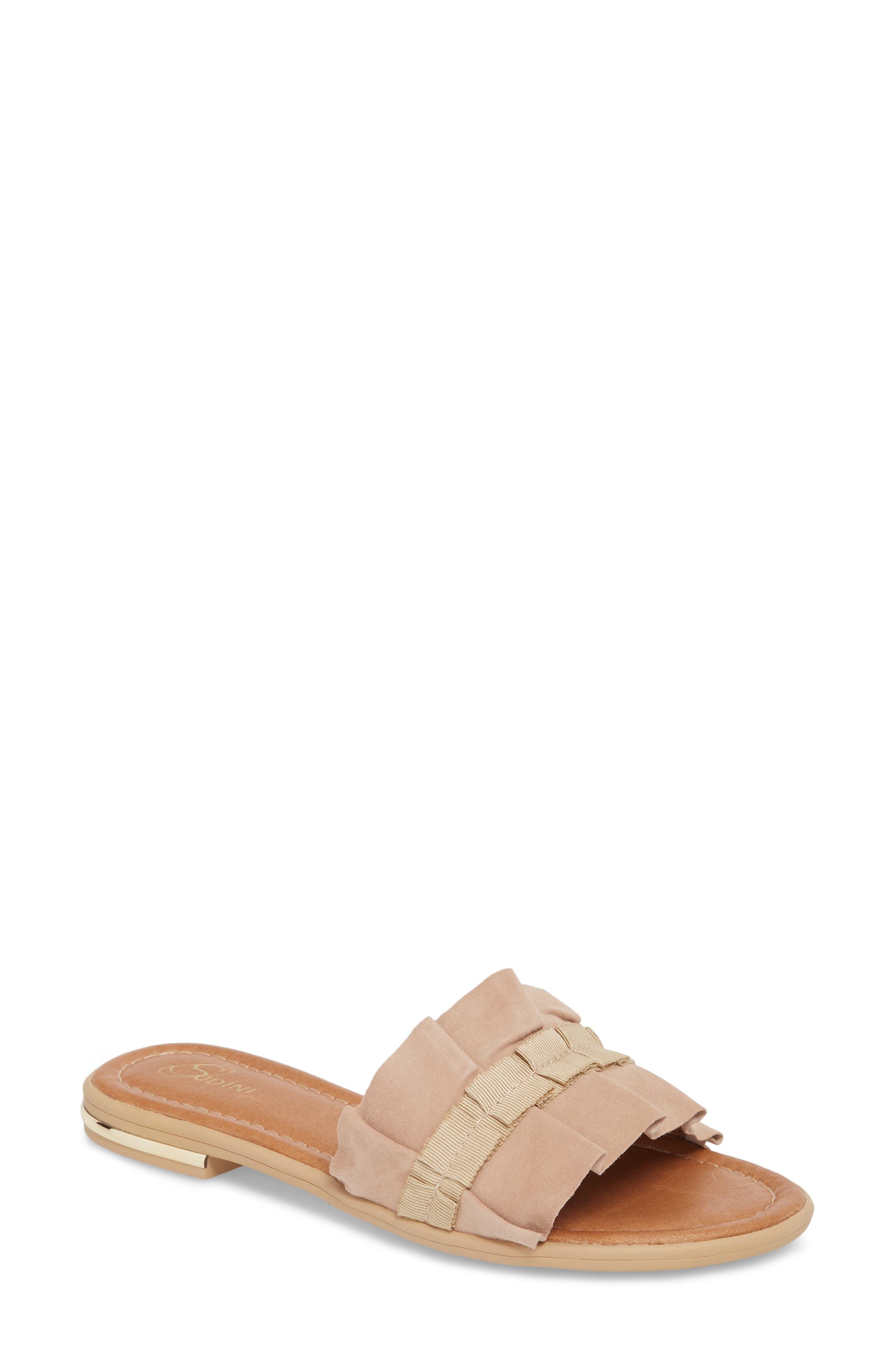 Ravenna Slide Sandal,                         Main,                         color, NUDE SUEDE