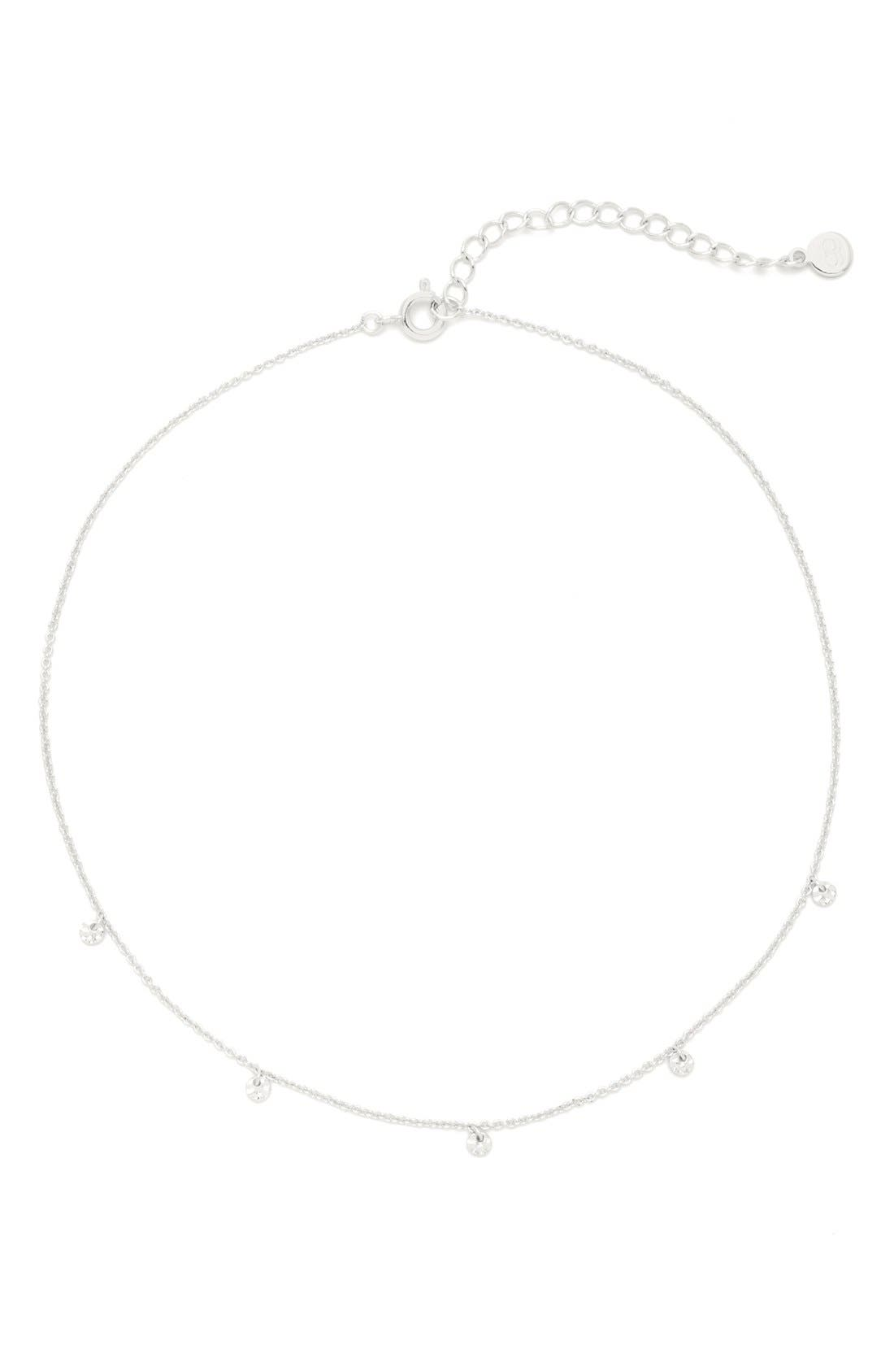 Charm Choker Necklace,                         Main,                         color, SILVER