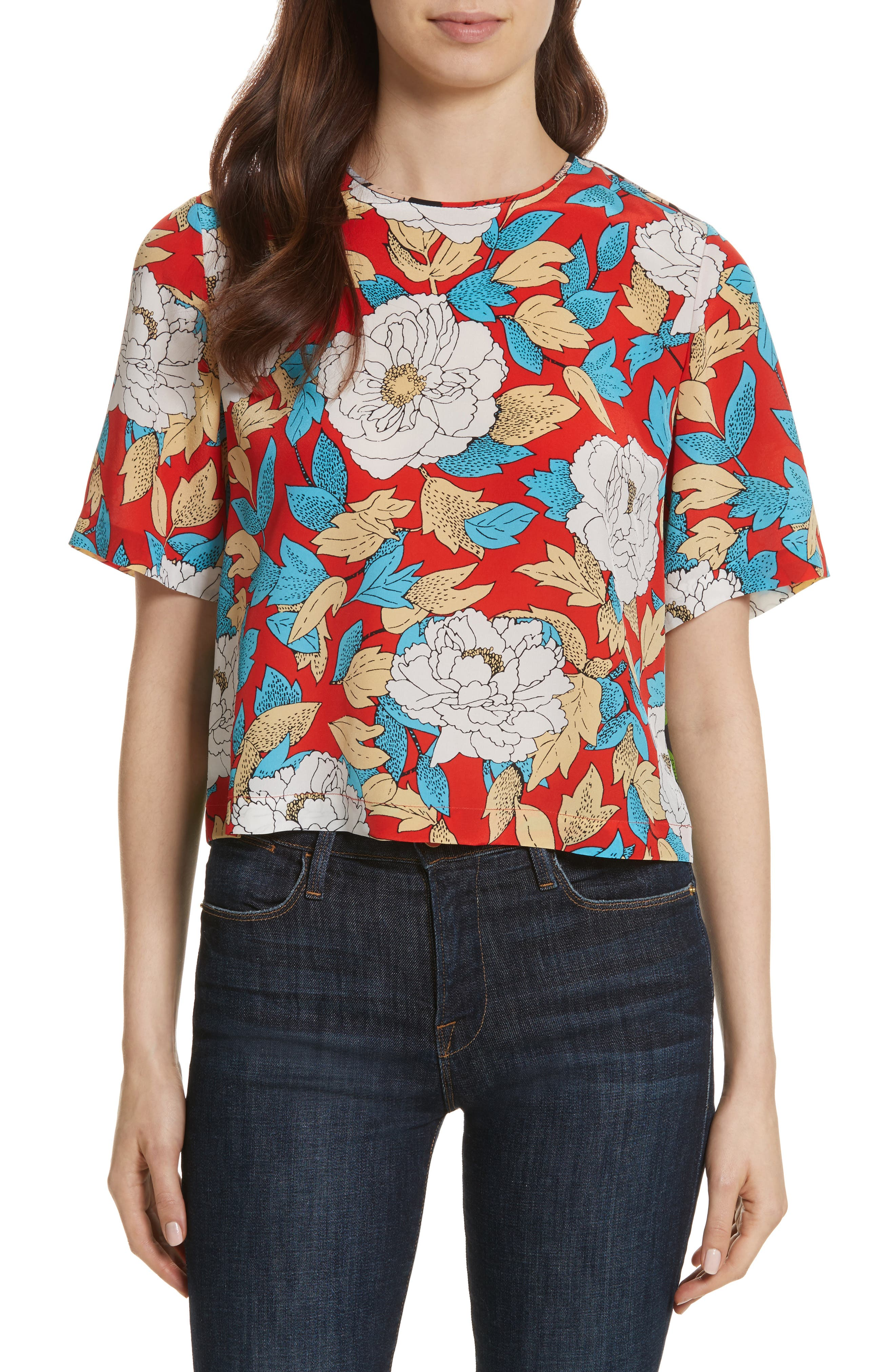 Diane von Furstenberg Crop Silk Tee,                             Main thumbnail 1, color,